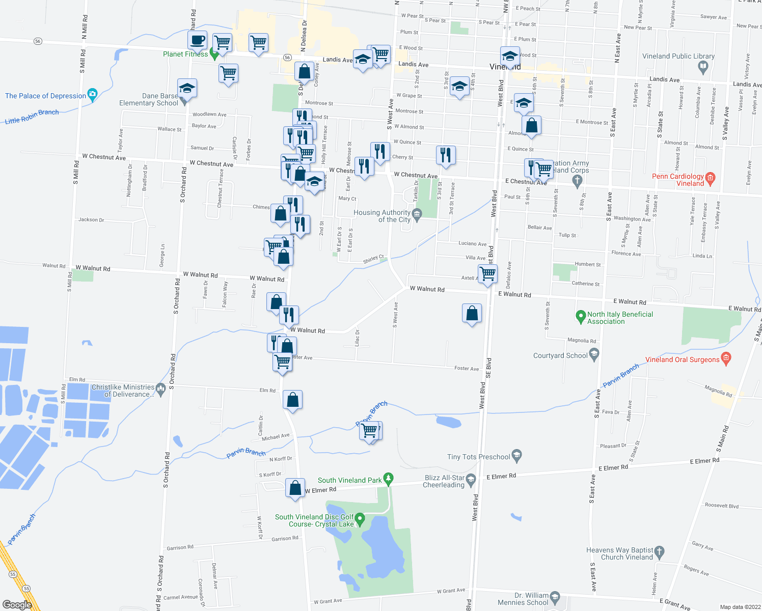 map of restaurants, bars, coffee shops, grocery stores, and more near 461 West Walnut Road in Vineland