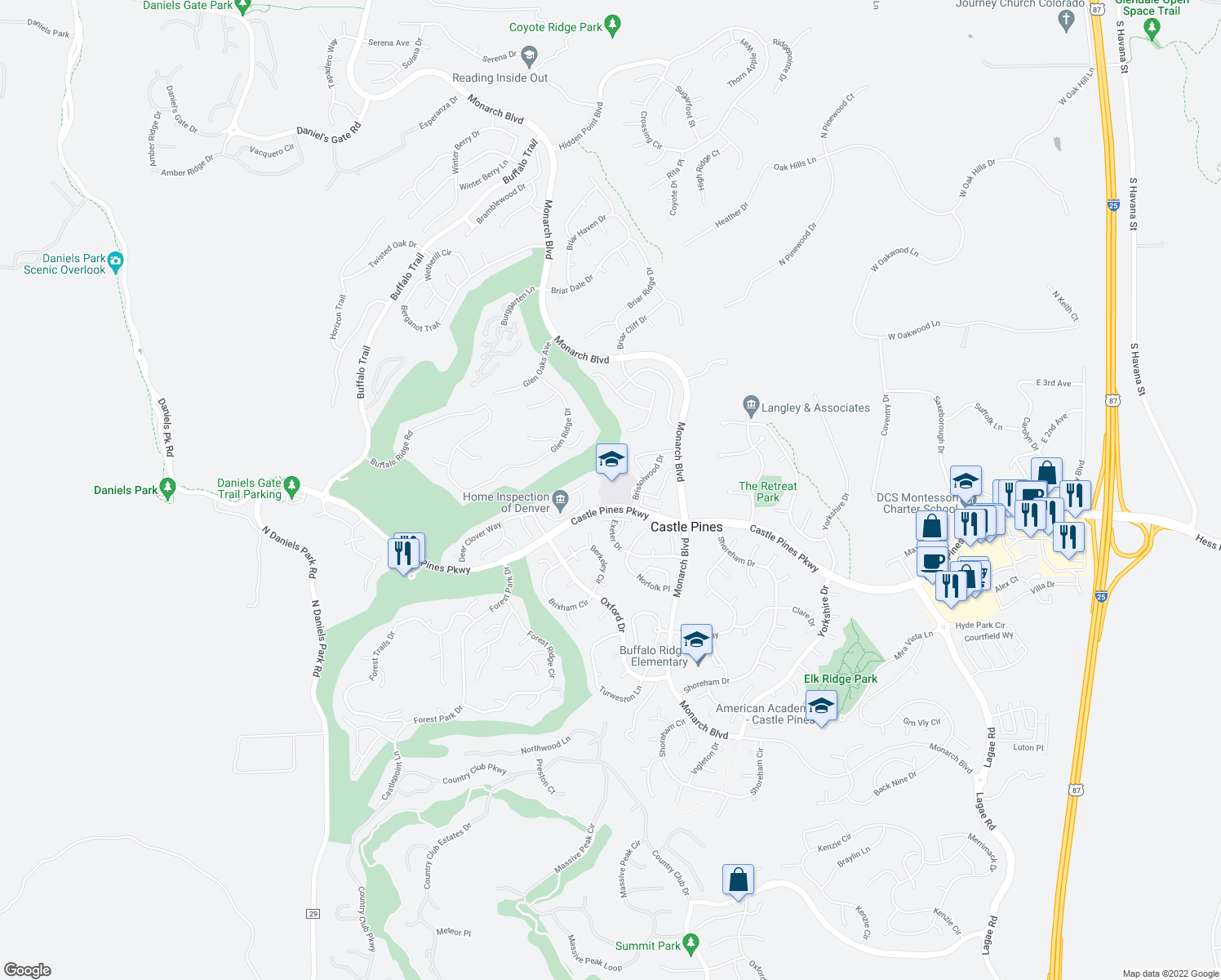 map of restaurants, bars, coffee shops, grocery stores, and more near 1039-1209 Castle Pines Pkwy in Castle Rock