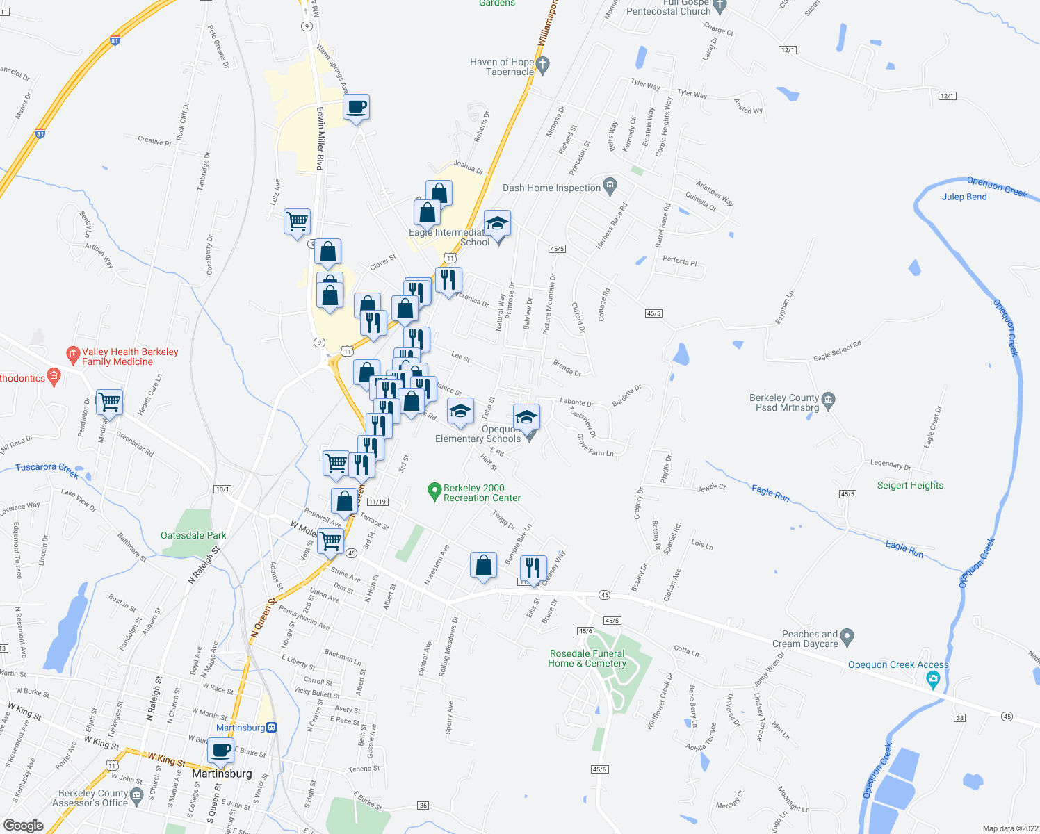 map of restaurants, bars, coffee shops, grocery stores, and more near 323-339 Duke Rd in Martinsburg