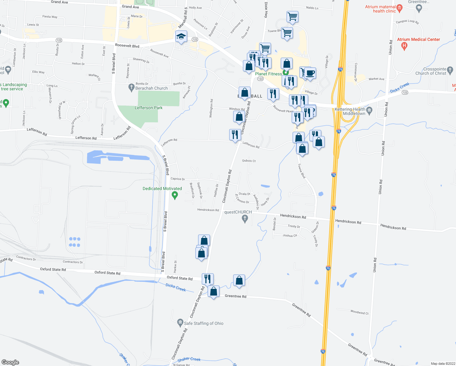 map of restaurants, bars, coffee shops, grocery stores, and more near Cincinnati Dayton Rd & Caprice Dr in Middletown