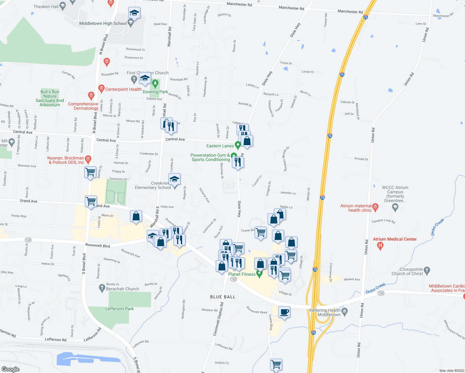 map of restaurants, bars, coffee shops, grocery stores, and more near 496 Bavarian Dr in Middletown