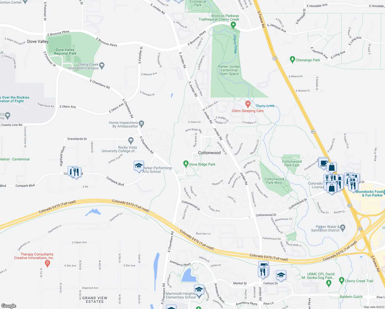 map of restaurants, bars, coffee shops, grocery stores, and more near Dove Ridge Way in Parker