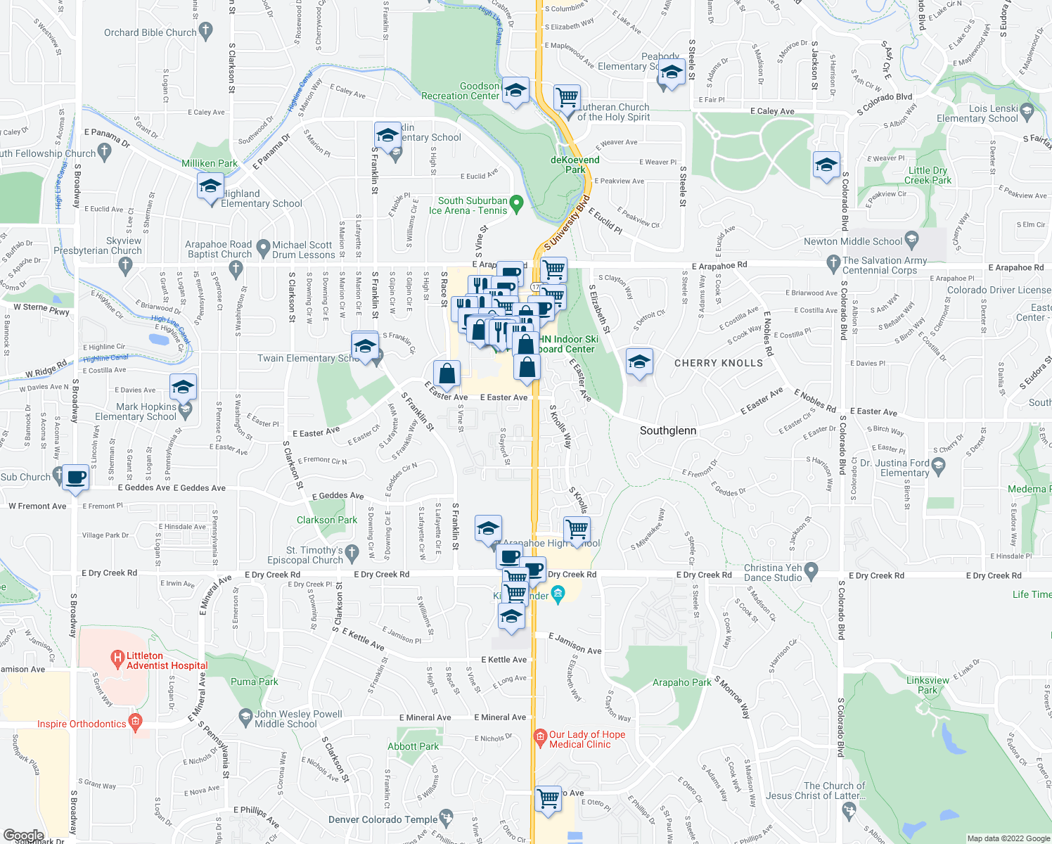 map of restaurants, bars, coffee shops, grocery stores, and more near 2301 East Fremont Avenue in Littleton