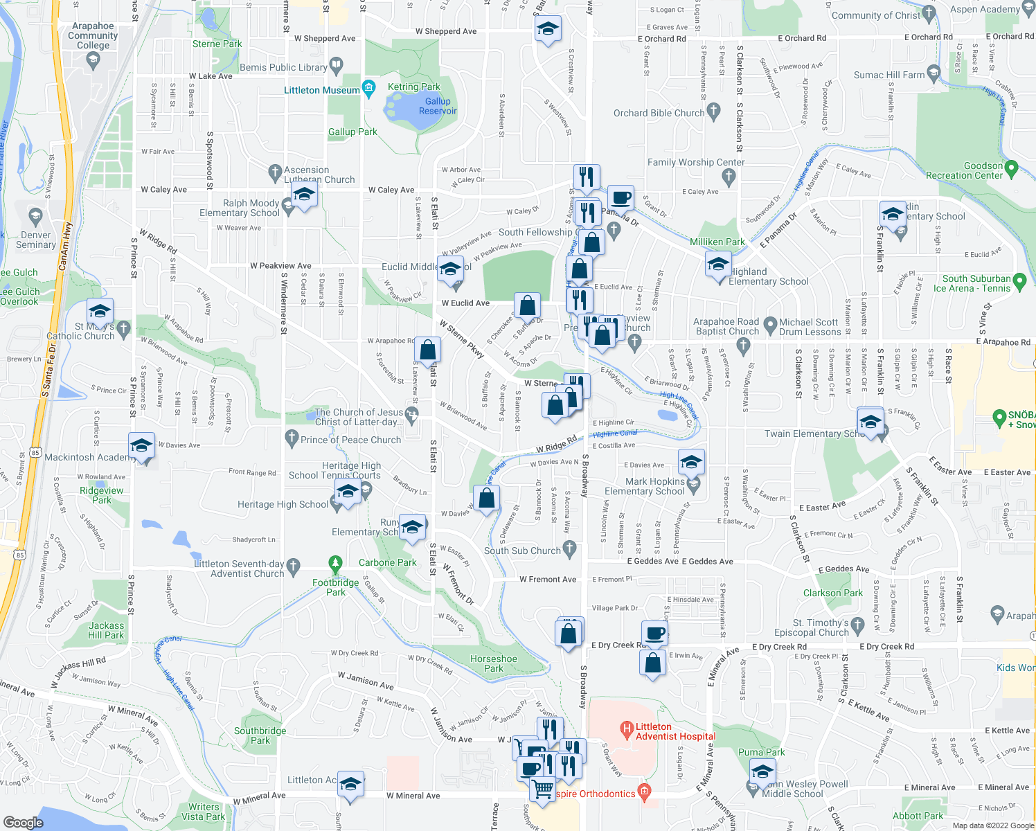 map of restaurants, bars, coffee shops, grocery stores, and more near 6900-7198 S Bannock St in Littleton
