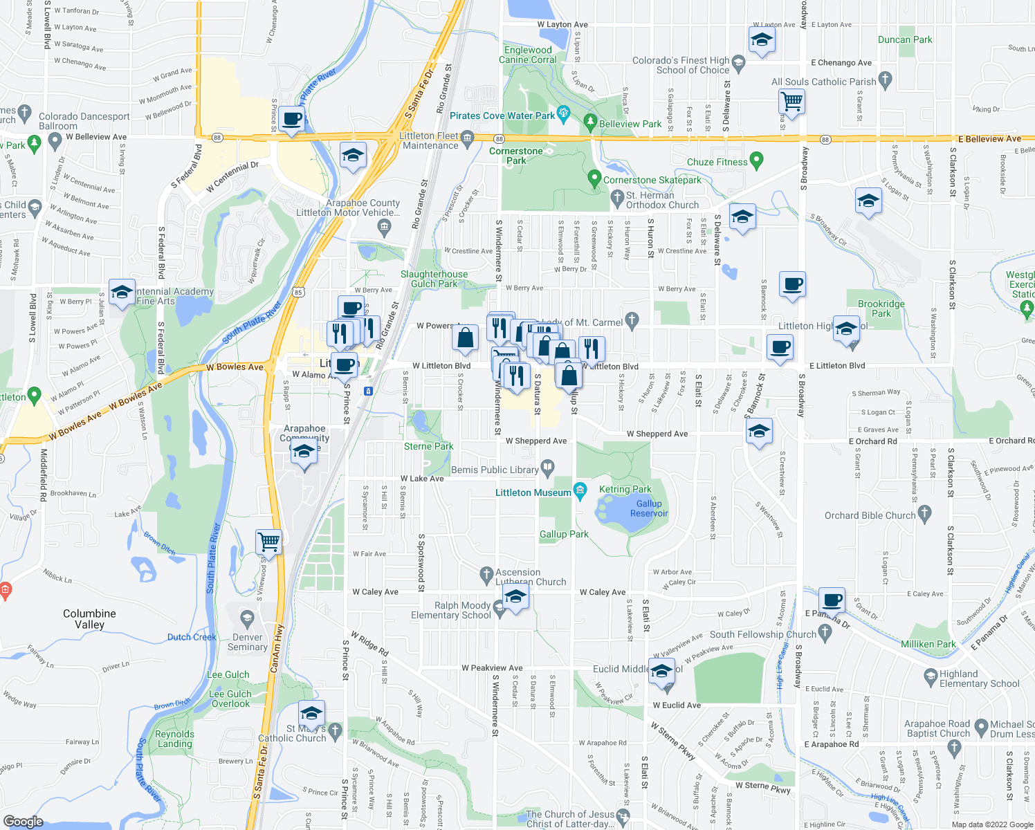 map of restaurants, bars, coffee shops, grocery stores, and more near 5820 South Windermere Street in Littleton