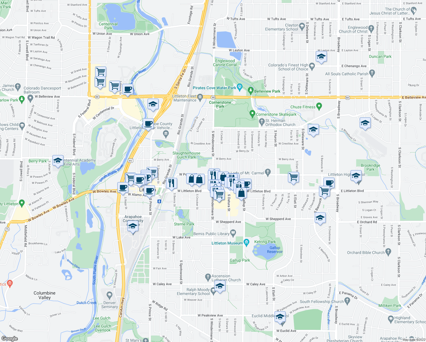 map of restaurants, bars, coffee shops, grocery stores, and more near 1608 West Powers Avenue in Littleton