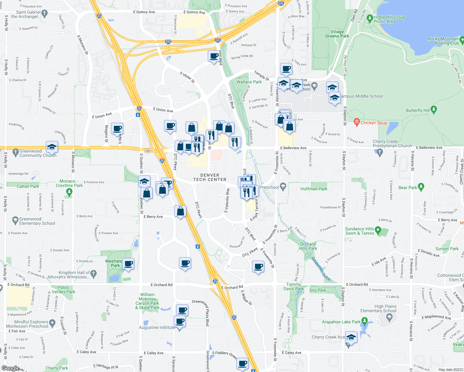 map of restaurants, bars, coffee shops, grocery stores, and more near 5320-5344 South Valentia Way in Greenwood Village