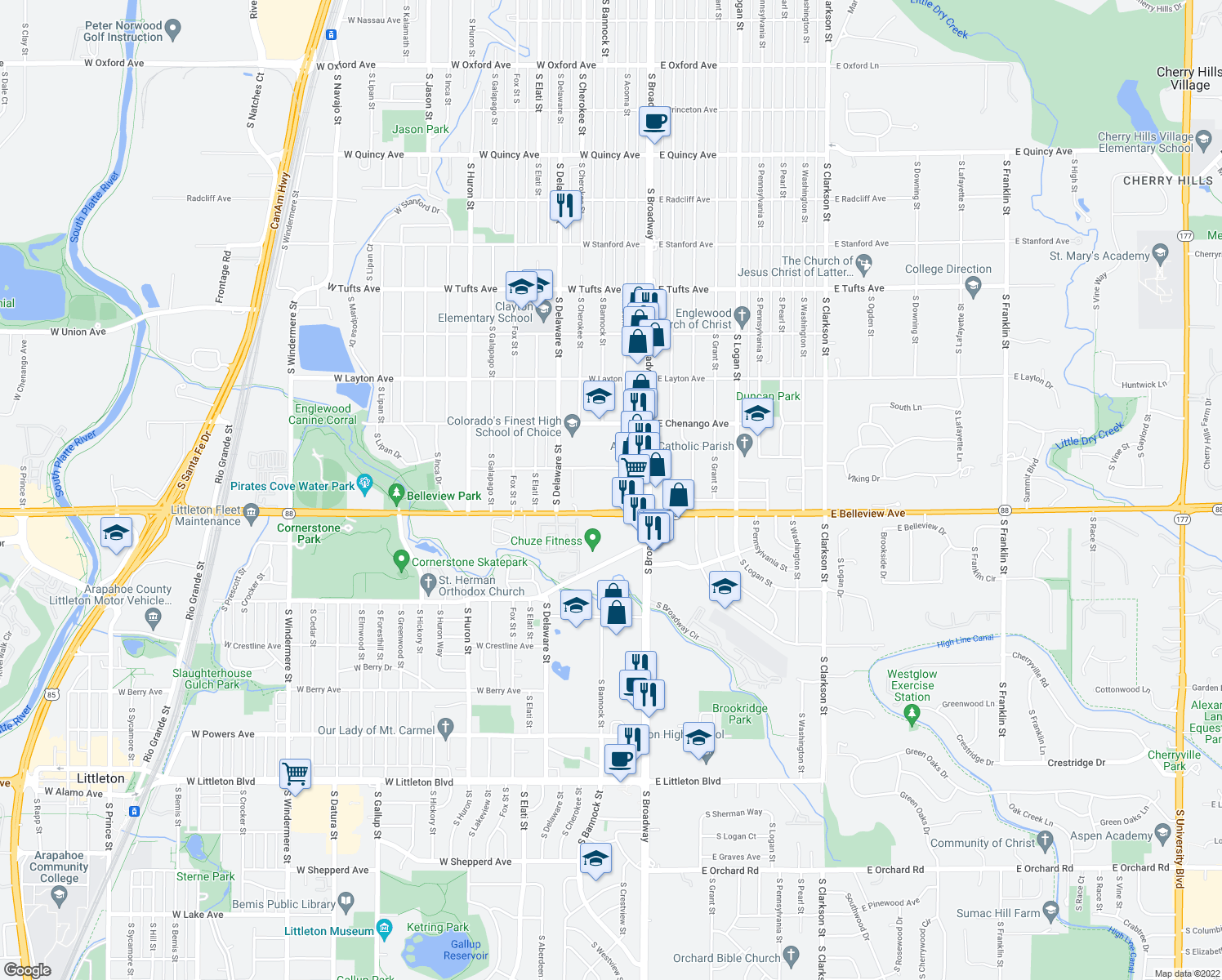 map of restaurants, bars, coffee shops, grocery stores, and more near 100 W Grand Ave in Englewood