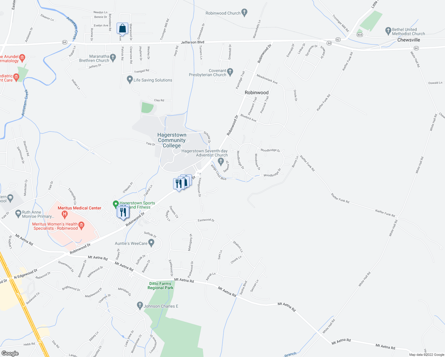 map of restaurants, bars, coffee shops, grocery stores, and more near 20363 Kings Crest Boulevard in Hagerstown