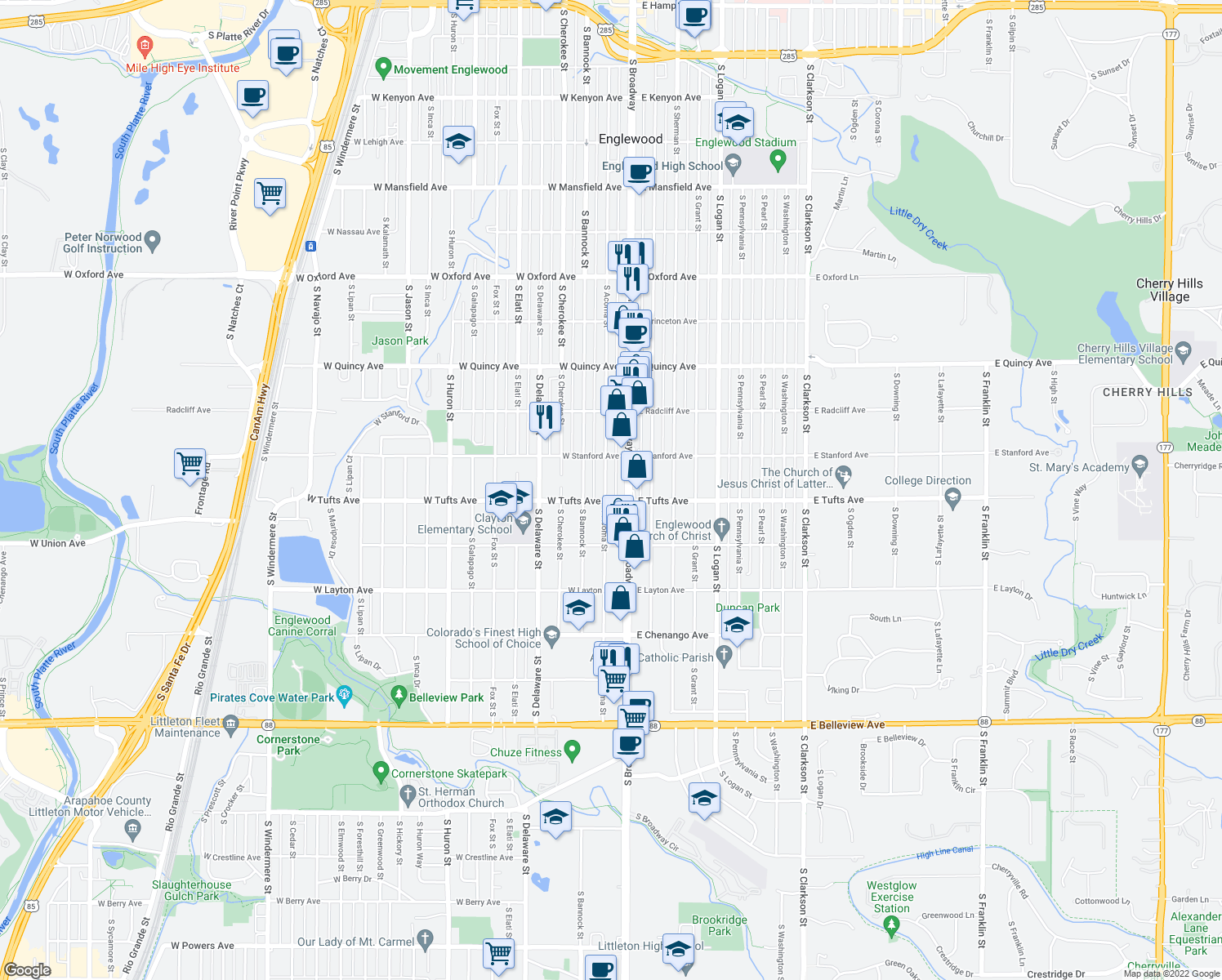 map of restaurants, bars, coffee shops, grocery stores, and more near 4580 South Acoma Street in Englewood