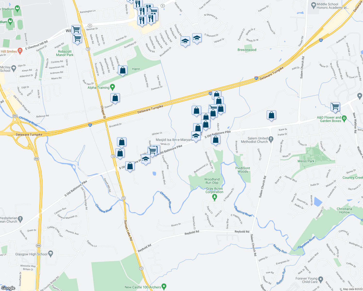 map of restaurants, bars, coffee shops, grocery stores, and more near 729 Old Baltimore Pike in Newark