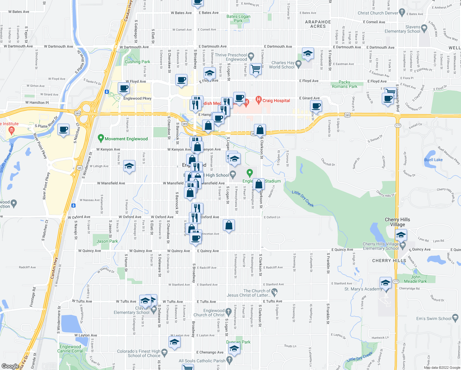 map of restaurants, bars, coffee shops, grocery stores, and more near 3900 South Logan Street in Englewood