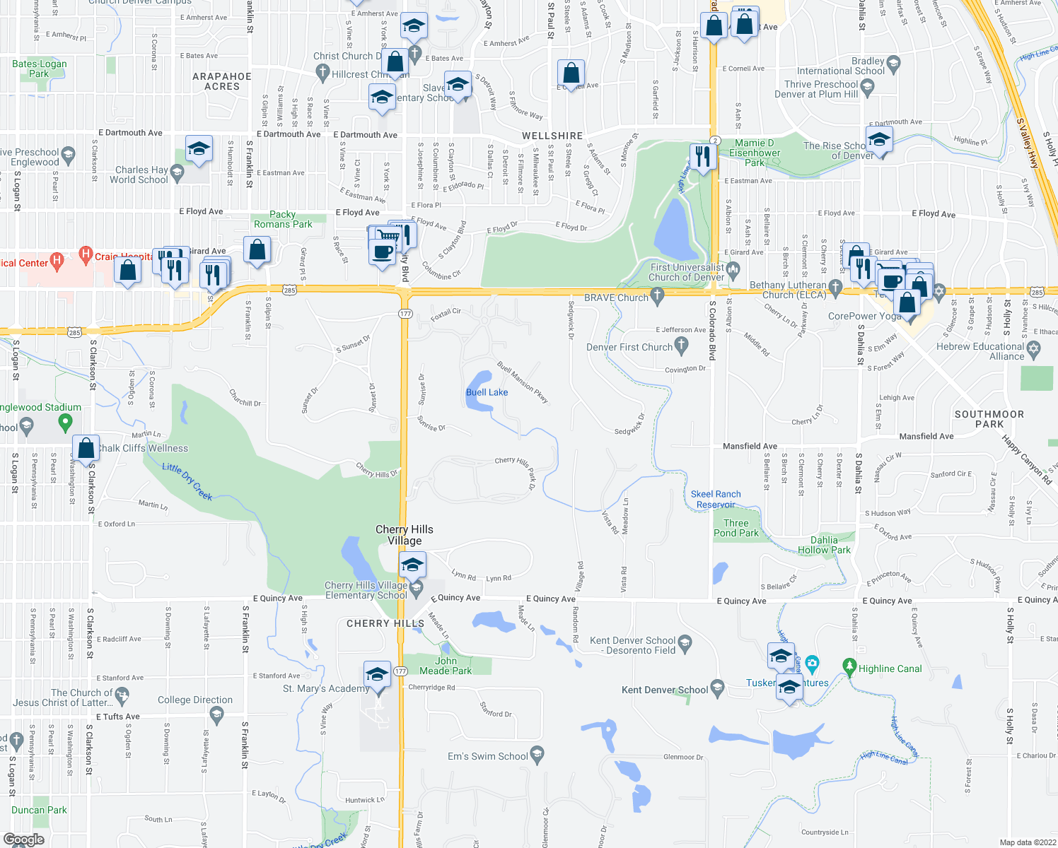 map of restaurants, bars, coffee shops, grocery stores, and more near 14 Sandy Lake Road in Englewood