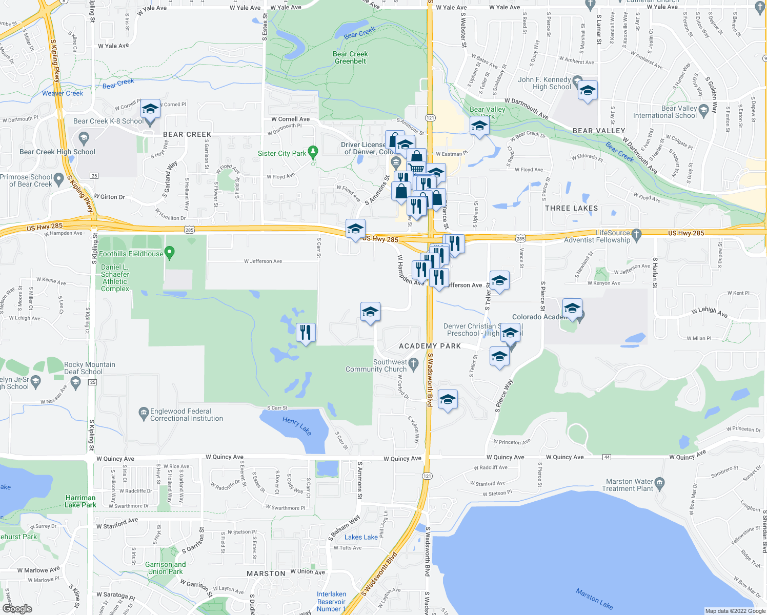 map of restaurants, bars, coffee shops, grocery stores, and more near 7806-7816 W Mansfield Pkwy in Lakewood