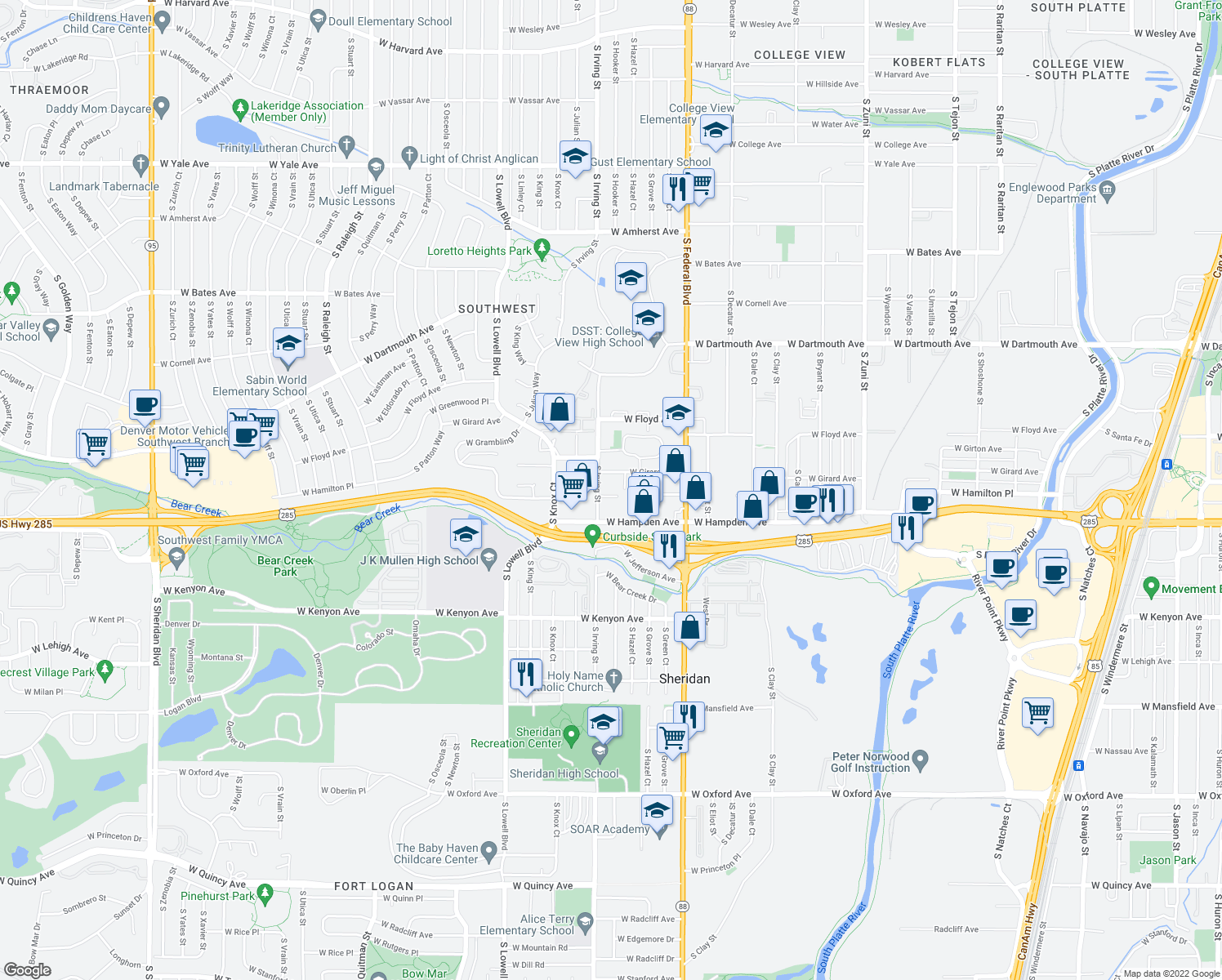 map of restaurants, bars, coffee shops, grocery stores, and more near 3275 West Hamilton Place in Englewood