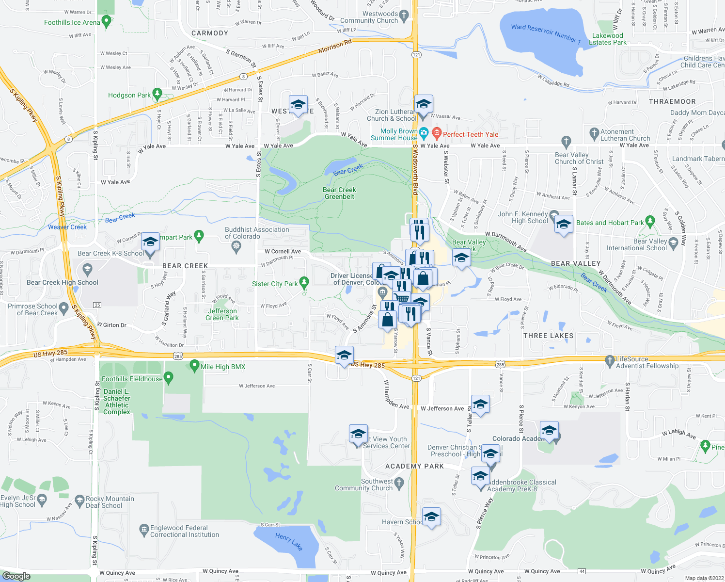 map of restaurants, bars, coffee shops, grocery stores, and more near 3295 S Ammons St in Denver