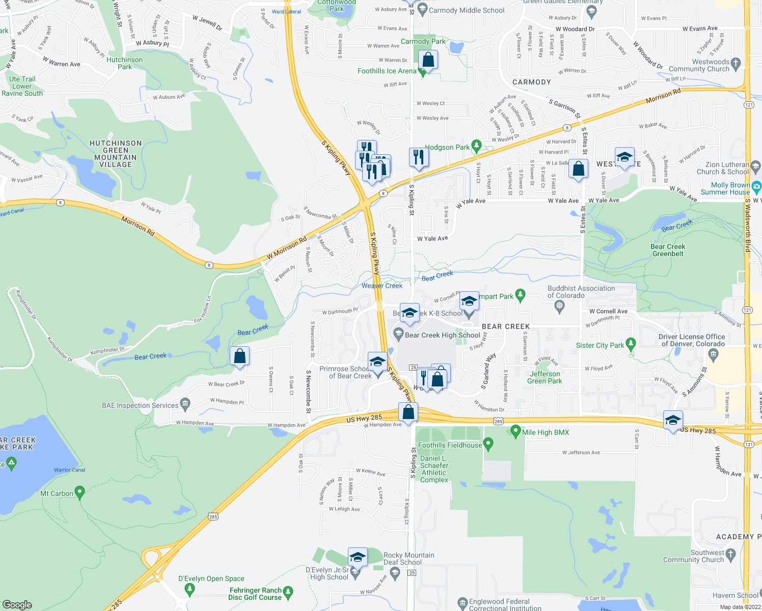 map of restaurants, bars, coffee shops, grocery stores, and more near S Kipling Pkwy & W Dartmouth Ave in Lakewood