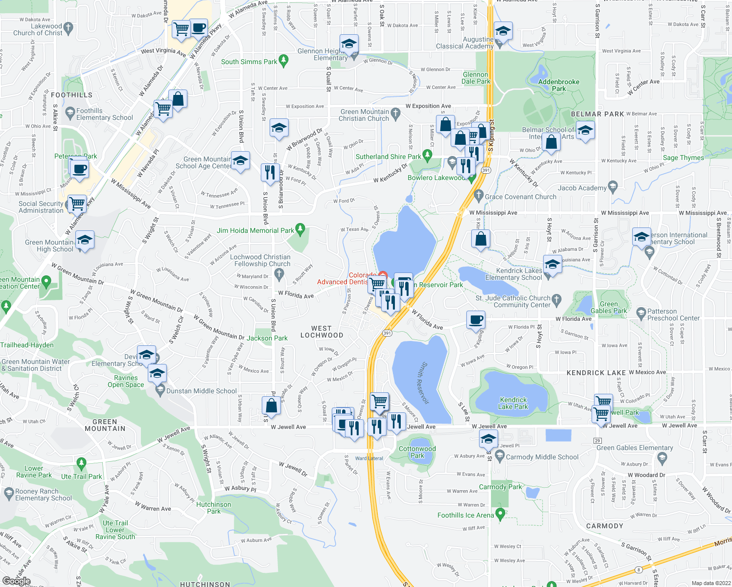 map of restaurants, bars, coffee shops, grocery stores, and more near 10930 West Florida Avenue in Lakewood