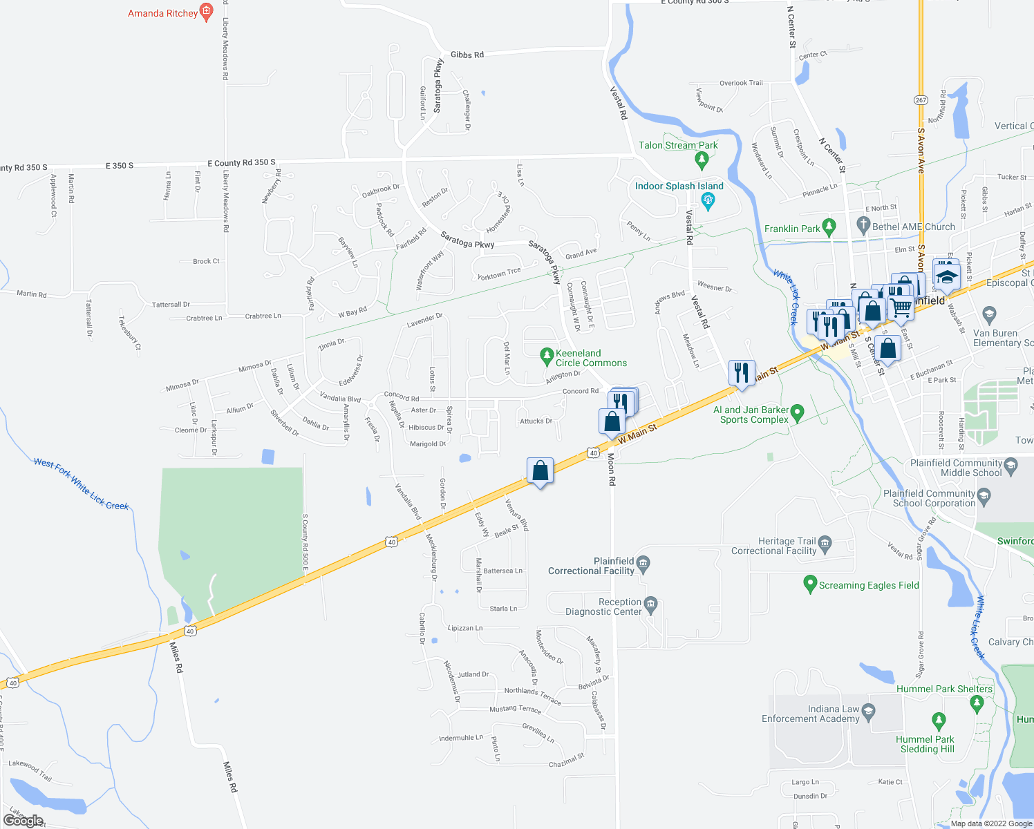 map of restaurants, bars, coffee shops, grocery stores, and more near Stillwater Way in Plainfield