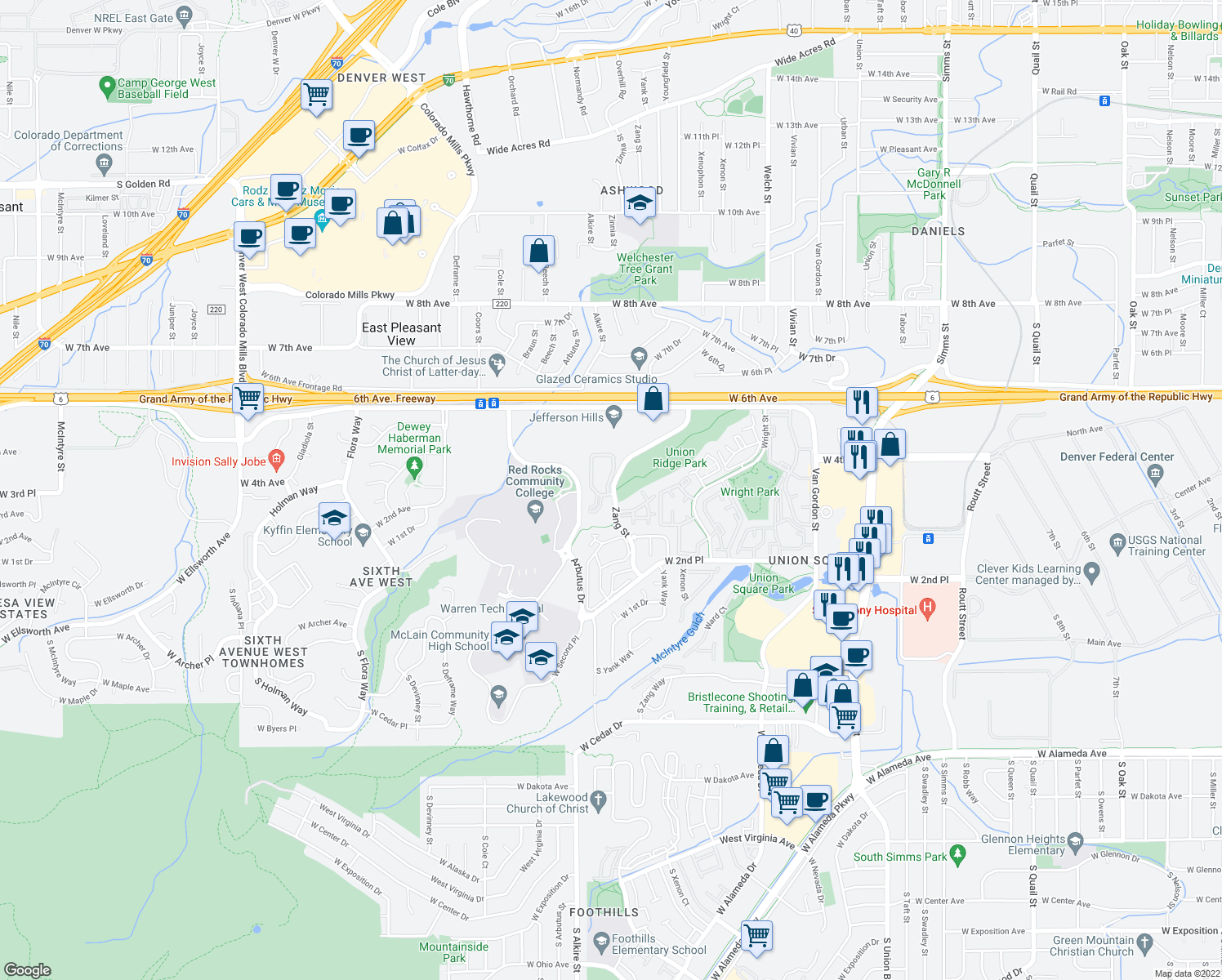 map of restaurants, bars, coffee shops, grocery stores, and more near 374-598 Zang Street in Lakewood