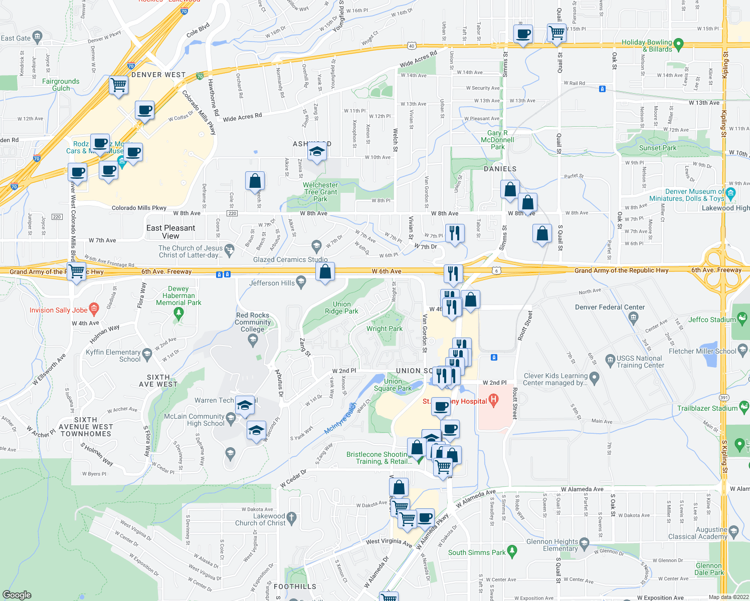 map of restaurants, bars, coffee shops, grocery stores, and more near 499 Wright St in Lakewood