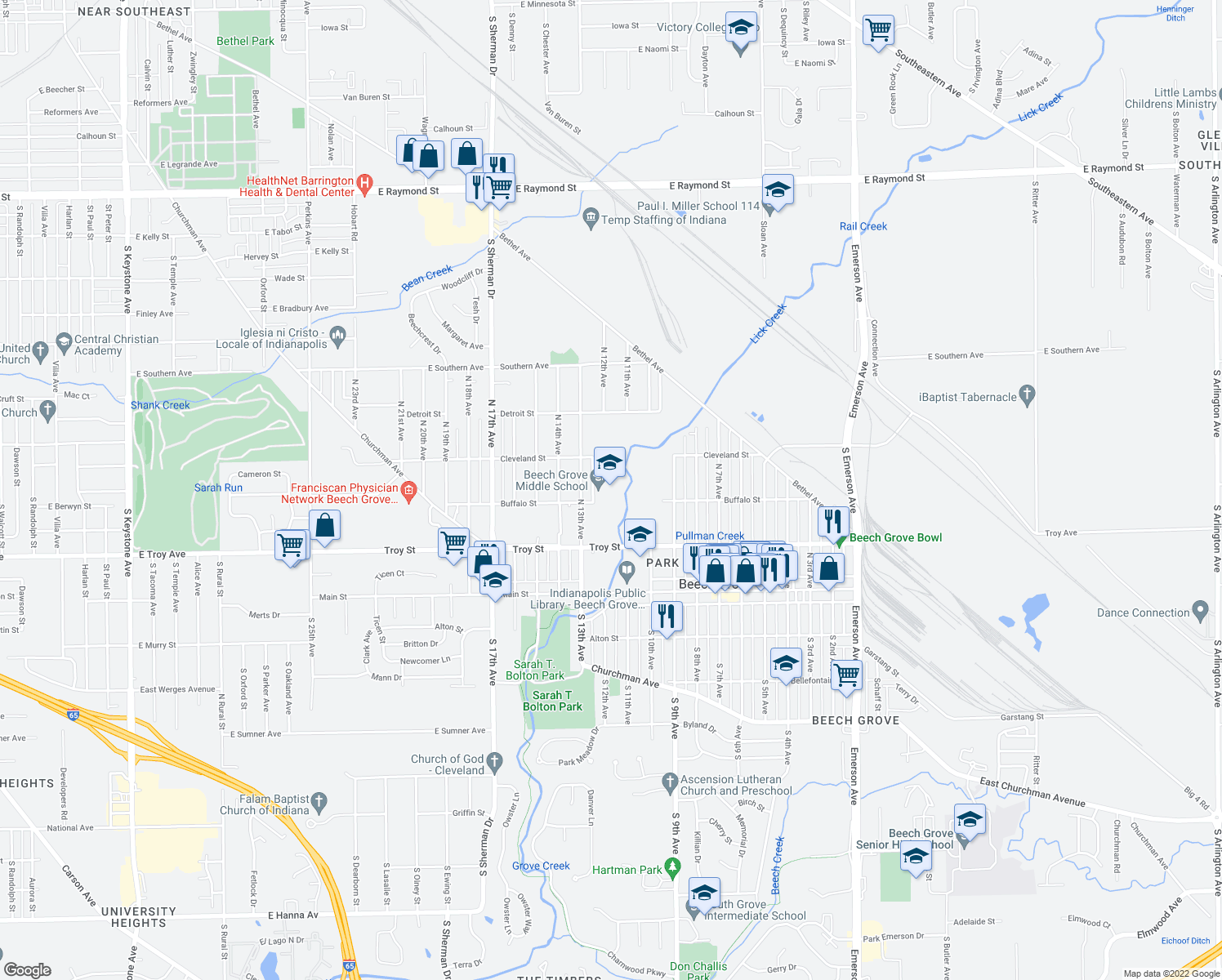 map of restaurants, bars, coffee shops, grocery stores, and more near 1248 Buffalo Street in Beech Grove