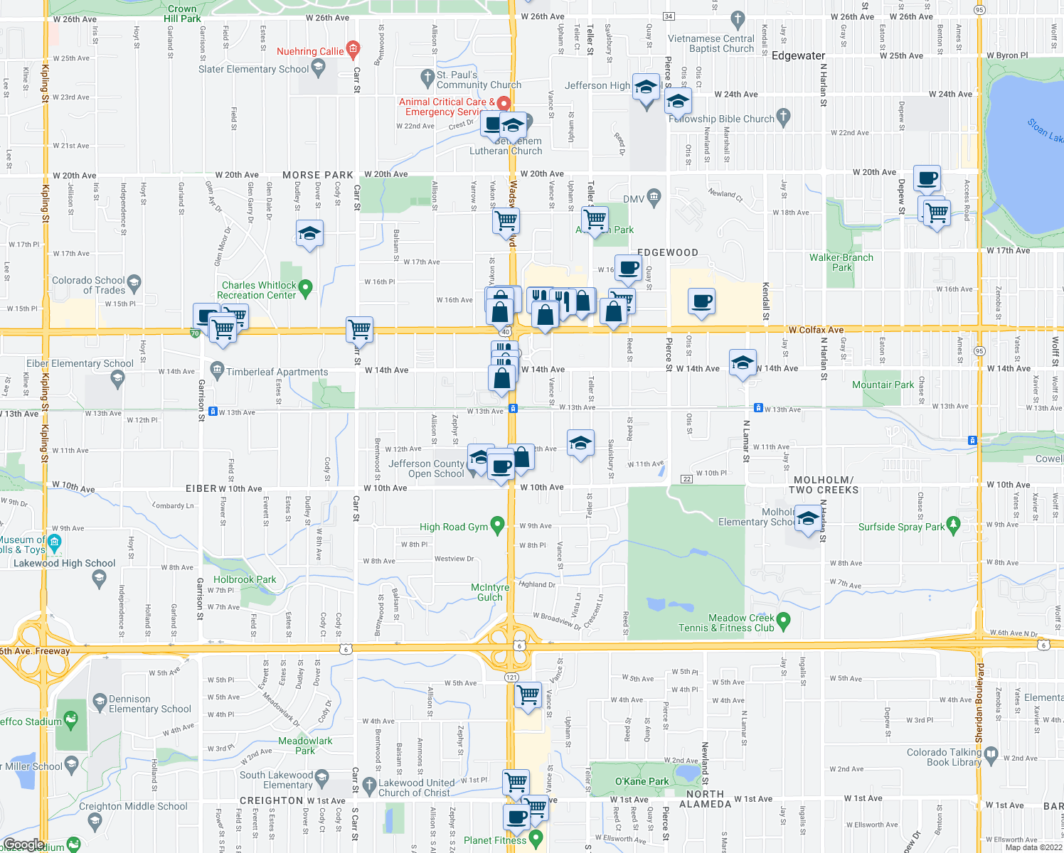 map of restaurants, bars, coffee shops, grocery stores, and more near 7410 West 13th Avenue in Lakewood