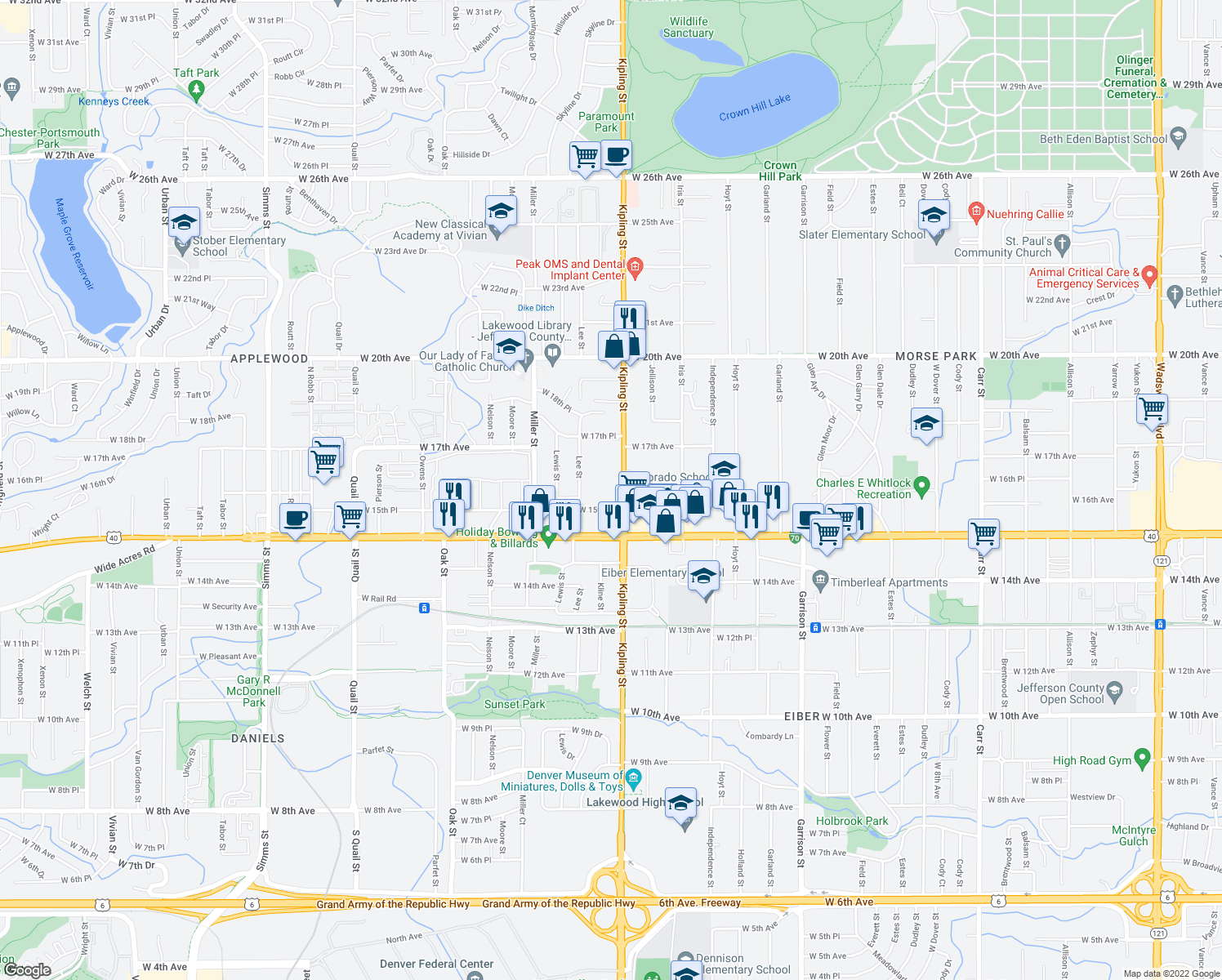 map of restaurants, bars, coffee shops, grocery stores, and more near 1600-1656 Kipling Street in Lakewood