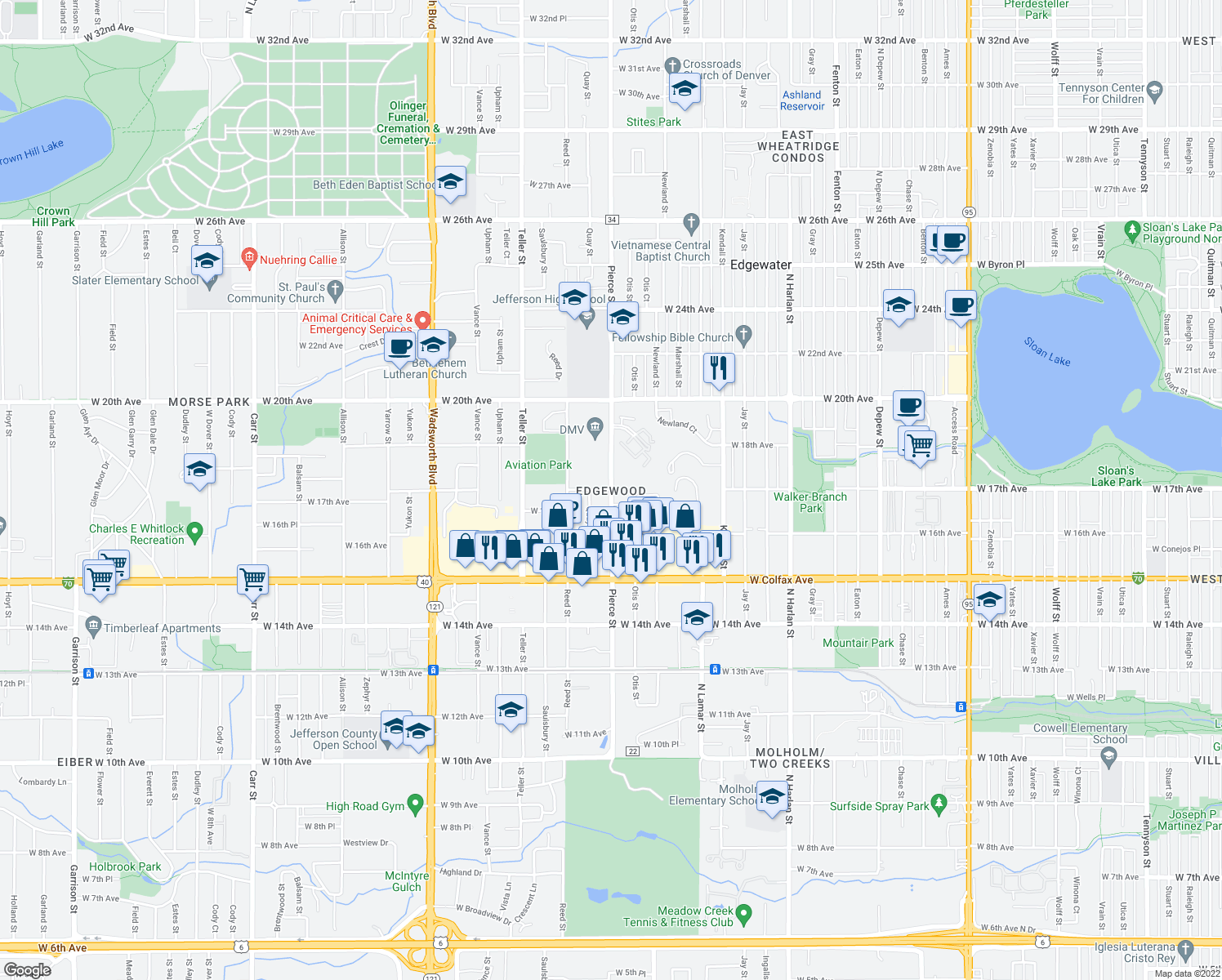 map of restaurants, bars, coffee shops, grocery stores, and more near 1702-1710 Pierce Street in Lakewood
