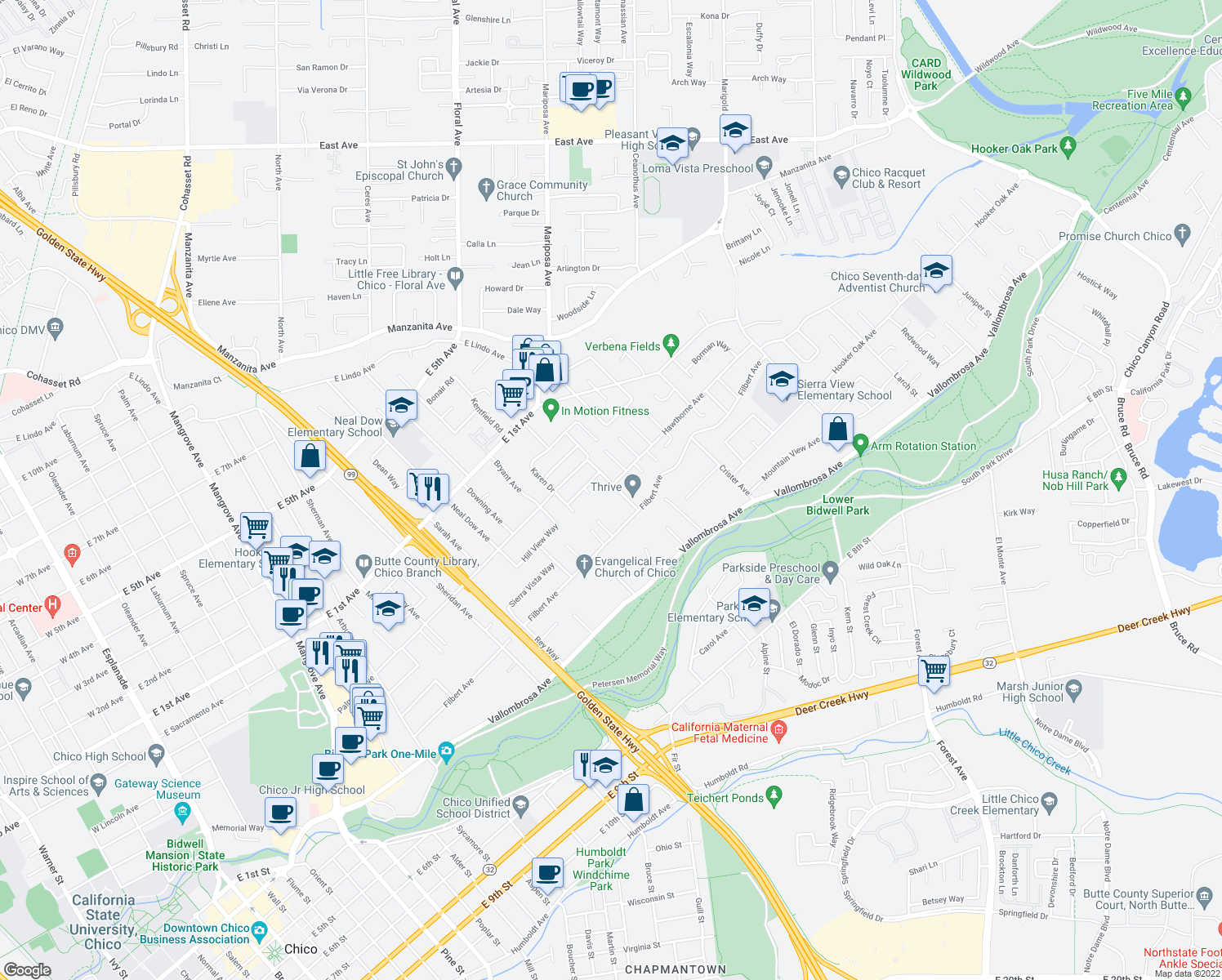 map of restaurants, bars, coffee shops, grocery stores, and more near 801 Moss Avenue in Chico