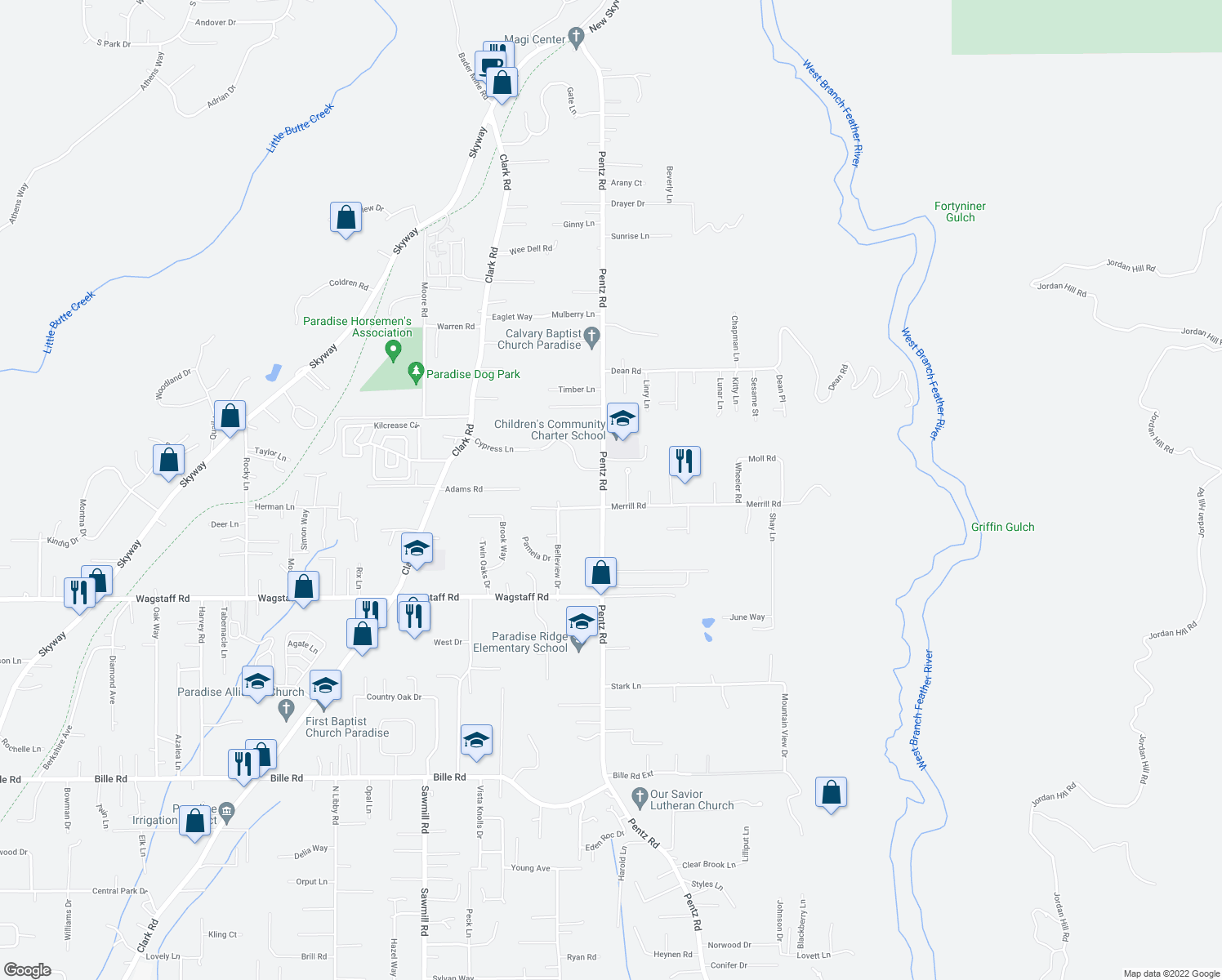 map of restaurants, bars, coffee shops, grocery stores, and more near 6800 Pentz Rd in Paradise