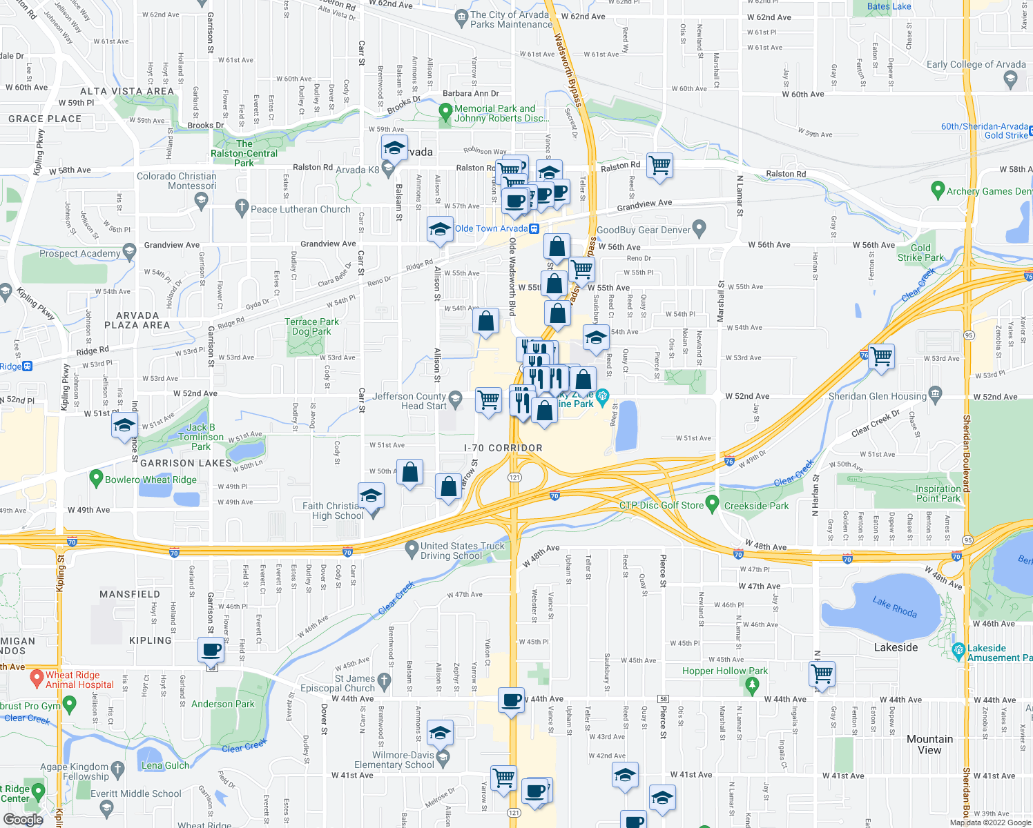 map of restaurants, bars, coffee shops, grocery stores, and more near Wadsworth Blvd & W 52nd Ave in Arvada