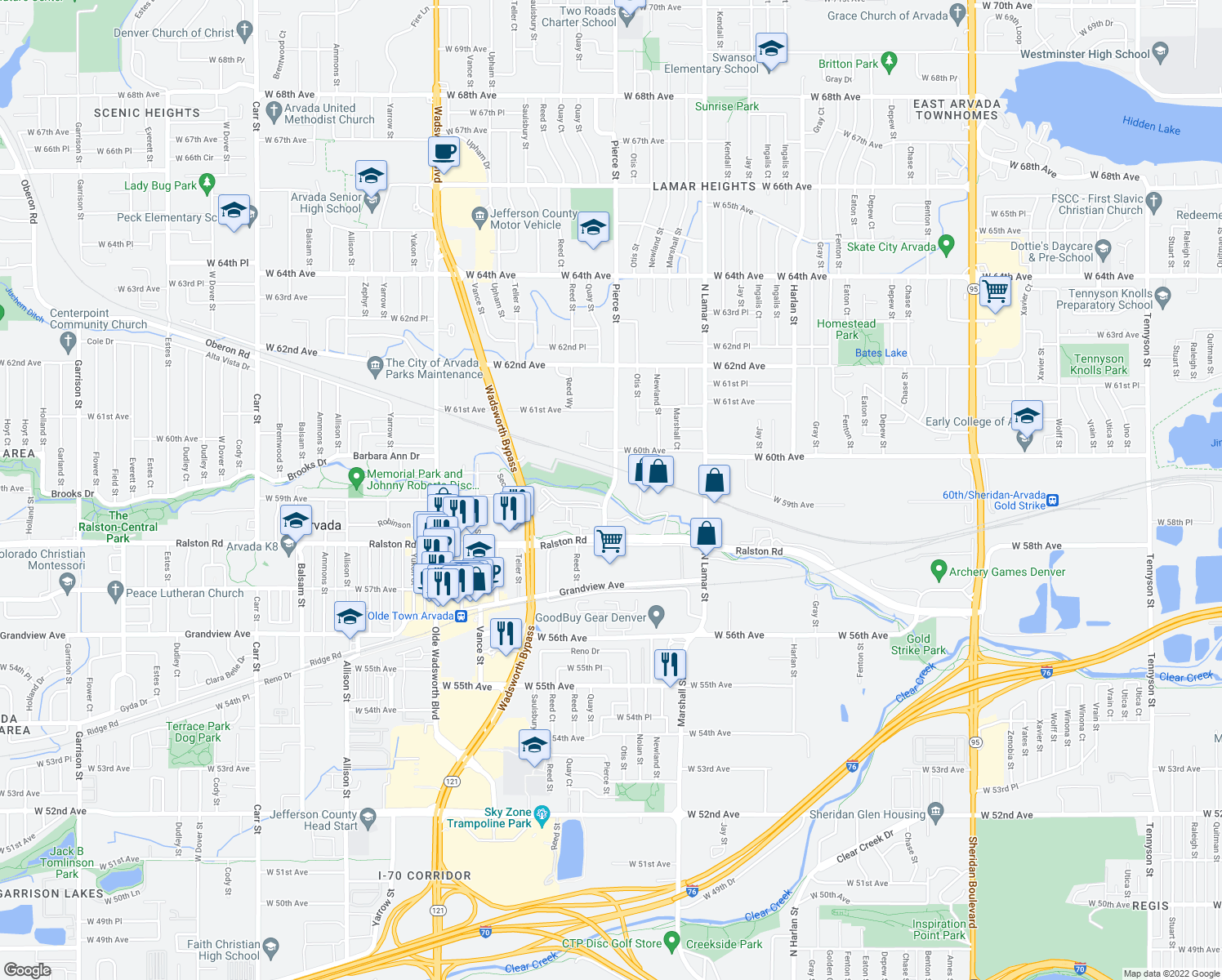 map of restaurants, bars, coffee shops, grocery stores, and more near 5850-5900 Pierce Street in Arvada