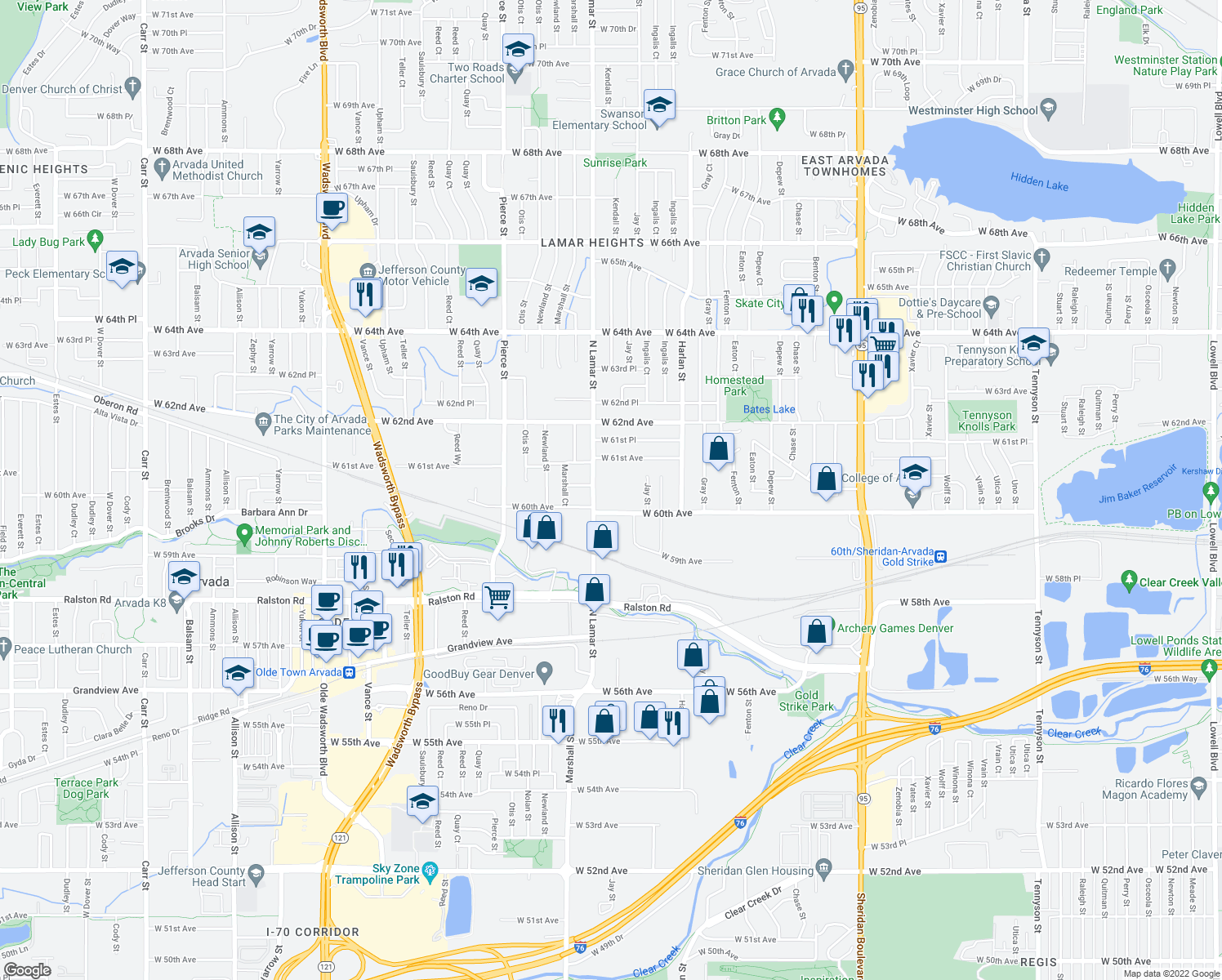 map of restaurants, bars, coffee shops, grocery stores, and more near 6260 West 61st Avenue in Arvada