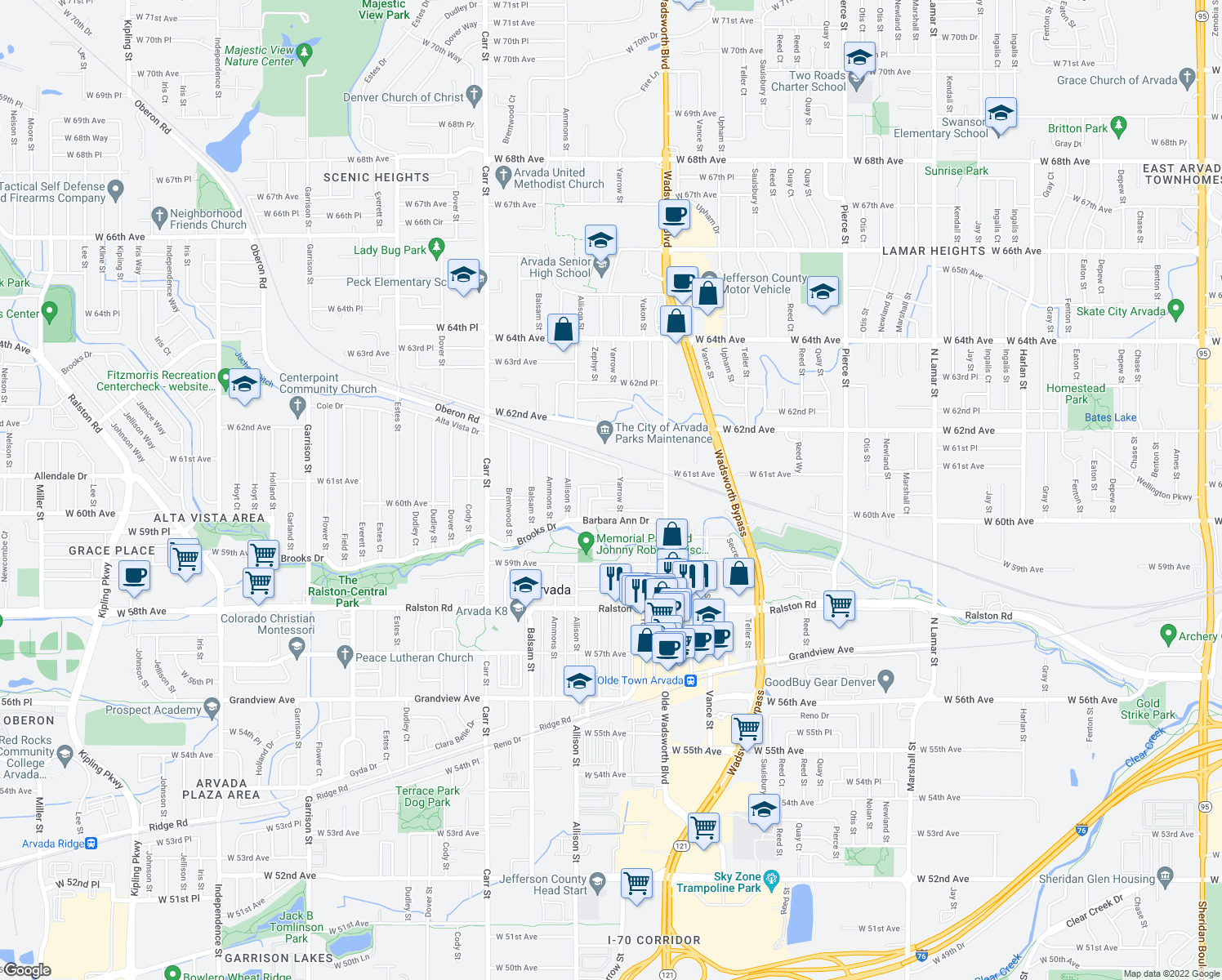 map of restaurants, bars, coffee shops, grocery stores, and more near 6000-6048 Yarrow Lane in Arvada