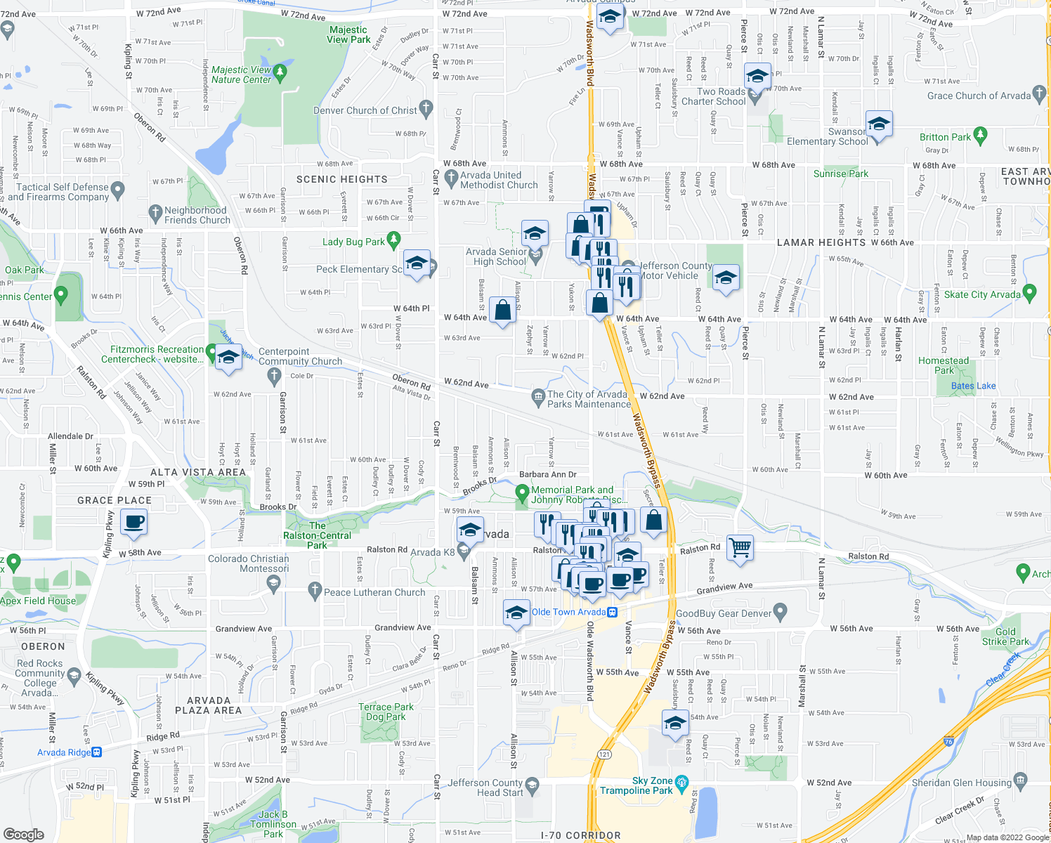 map of restaurants, bars, coffee shops, grocery stores, and more near 7822-7998 Oberon Road in Arvada