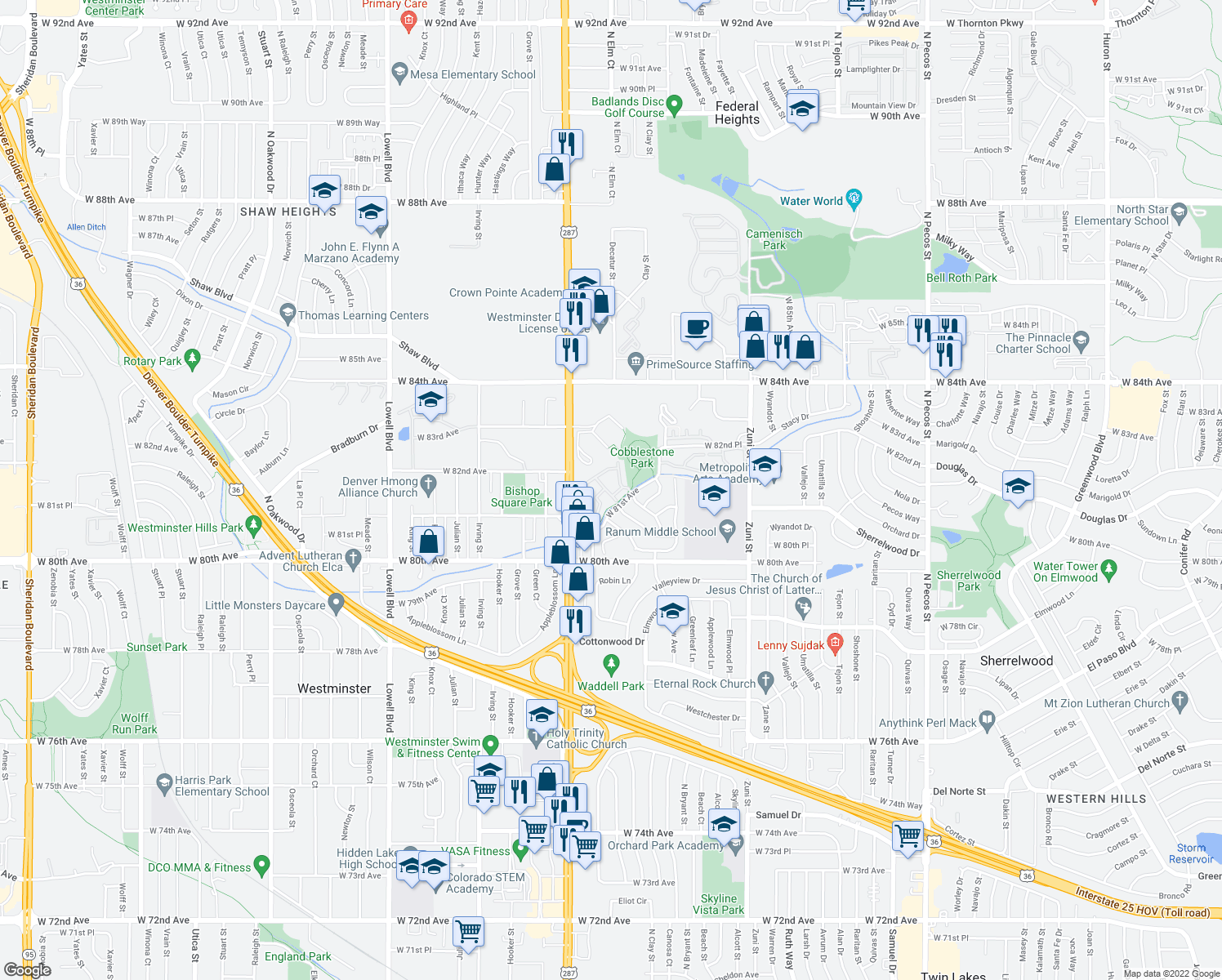 map of restaurants, bars, coffee shops, grocery stores, and more near 2933 West 81st Avenue in Westm