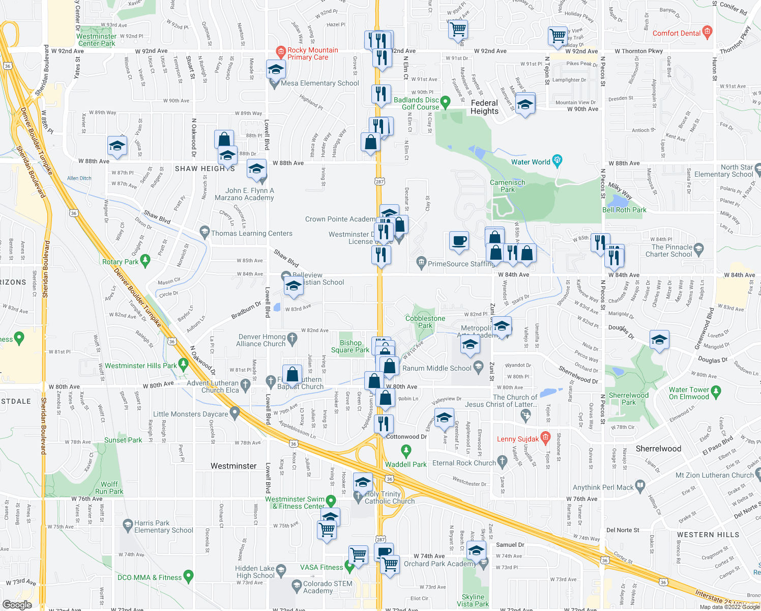 map of restaurants, bars, coffee shops, grocery stores, and more near 3007-3009 West 83rd Avenue in Westminster
