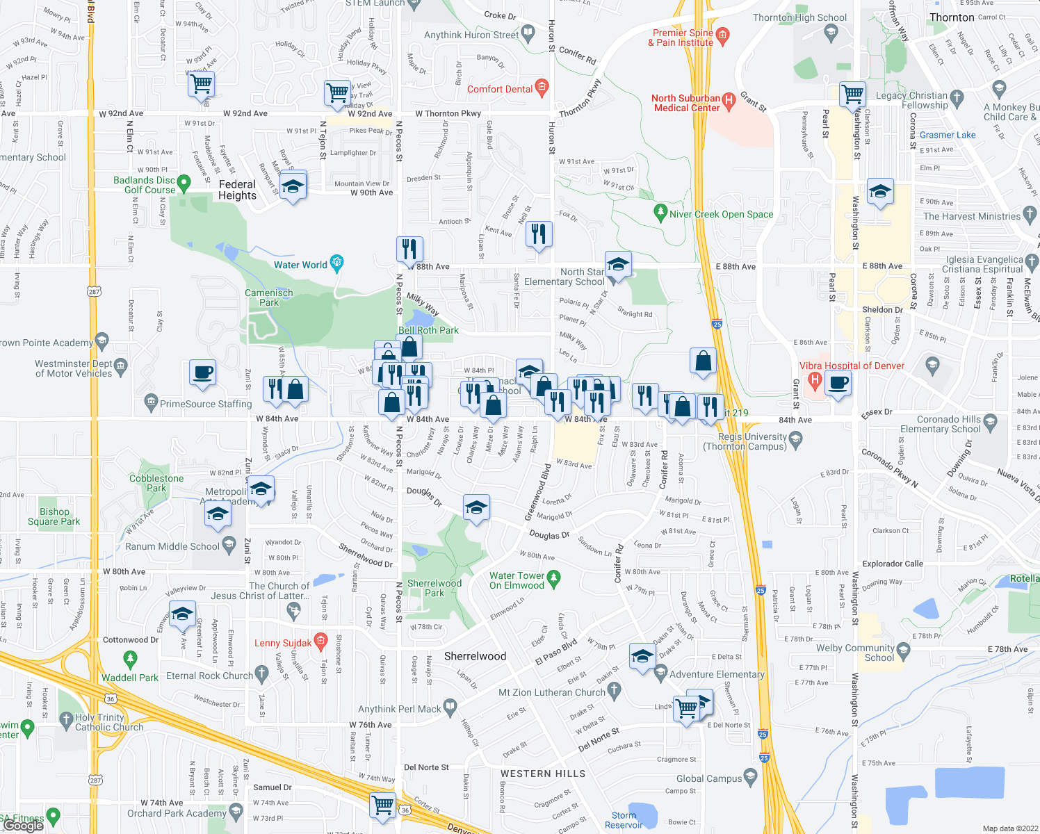 map of restaurants, bars, coffee shops, grocery stores, and more near 878-972 W 84th Ave in Federal Heights