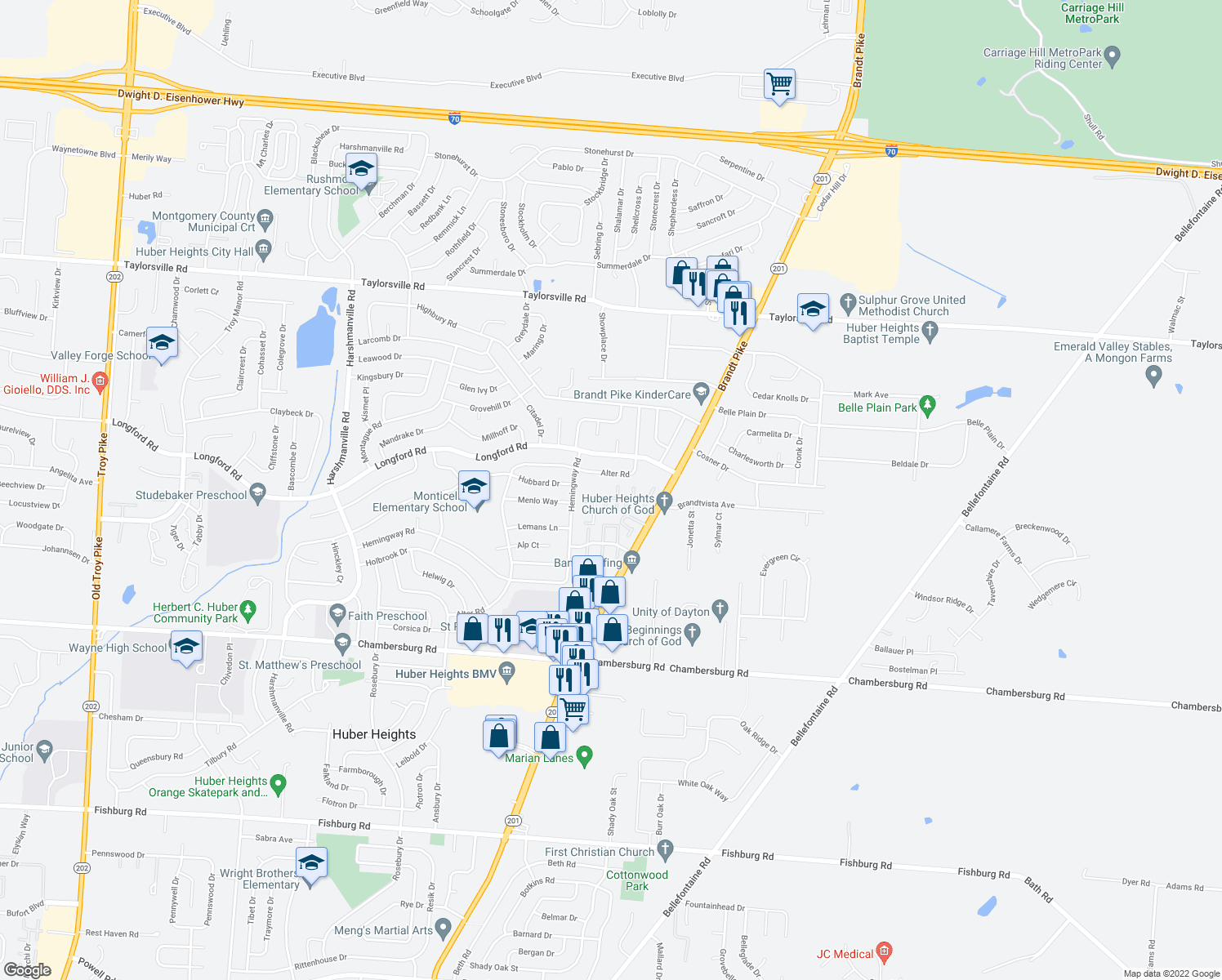 map of restaurants, bars, coffee shops, grocery stores, and more near 6851 Wayne Estates Blvd in Huber Heights