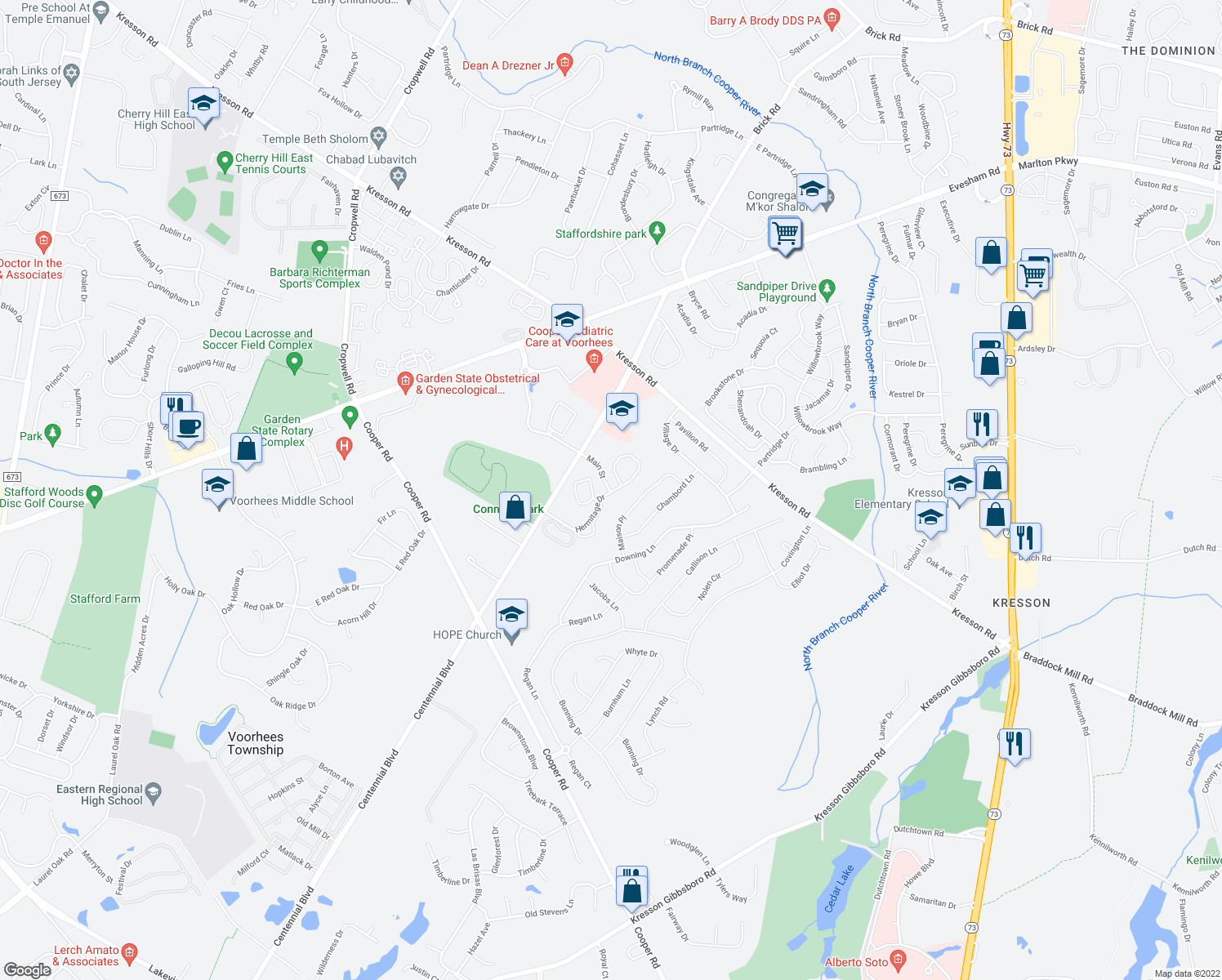 map of restaurants, bars, coffee shops, grocery stores, and more near 3700 Hermitage Dr in Voorhees