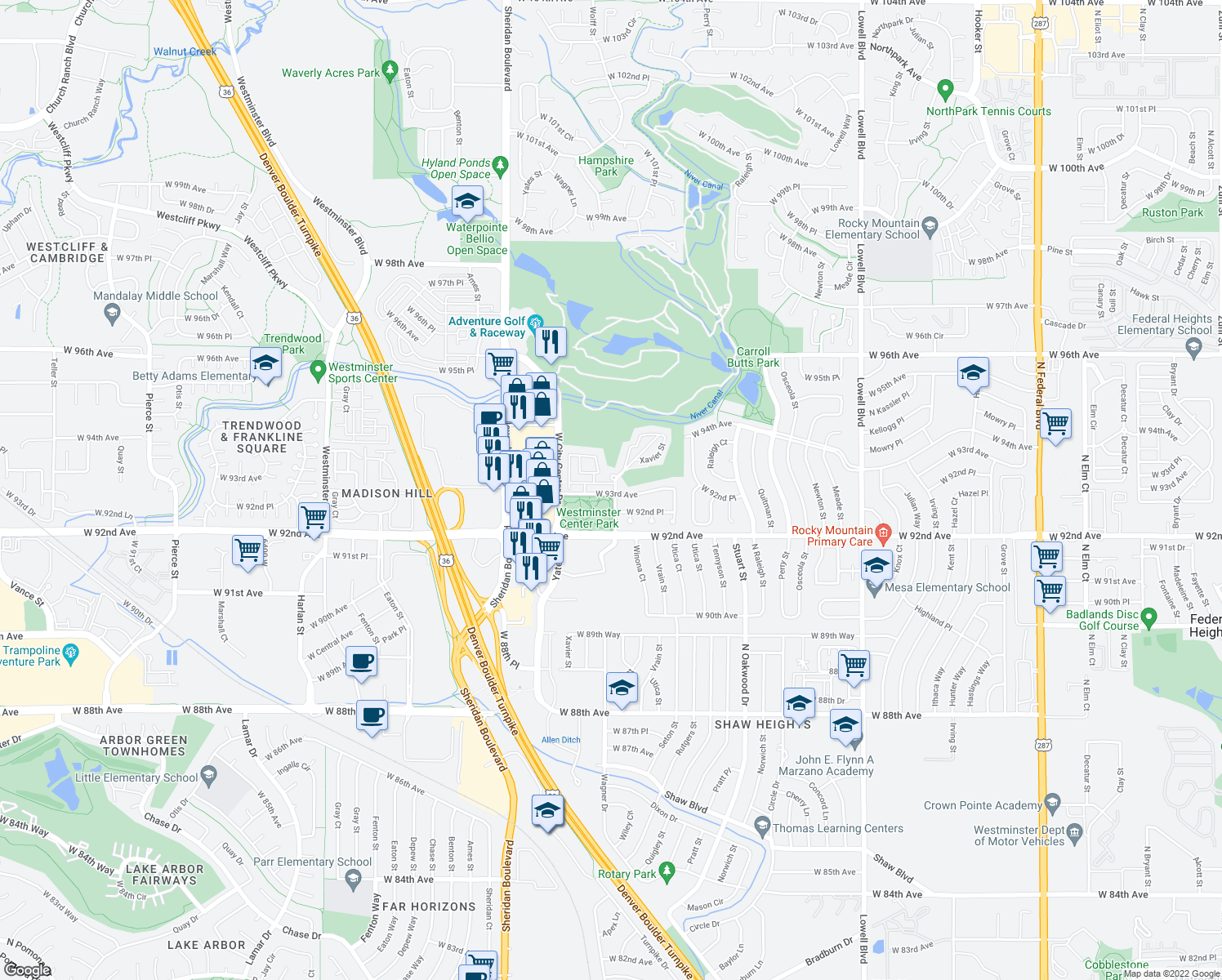 map of restaurants, bars, coffee shops, grocery stores, and more near 4827-4895 West 93rd Avenue in Westminster