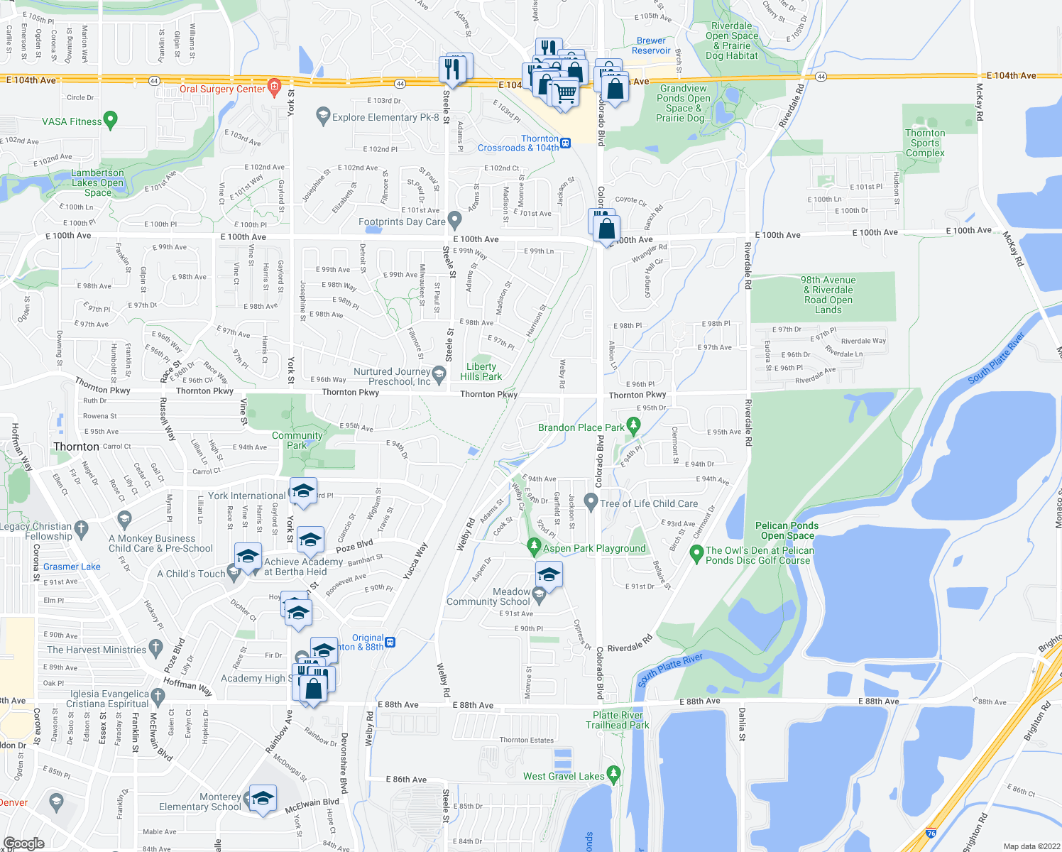 map of restaurants, bars, coffee shops, grocery stores, and more near 9451 Welby Rd in Denver