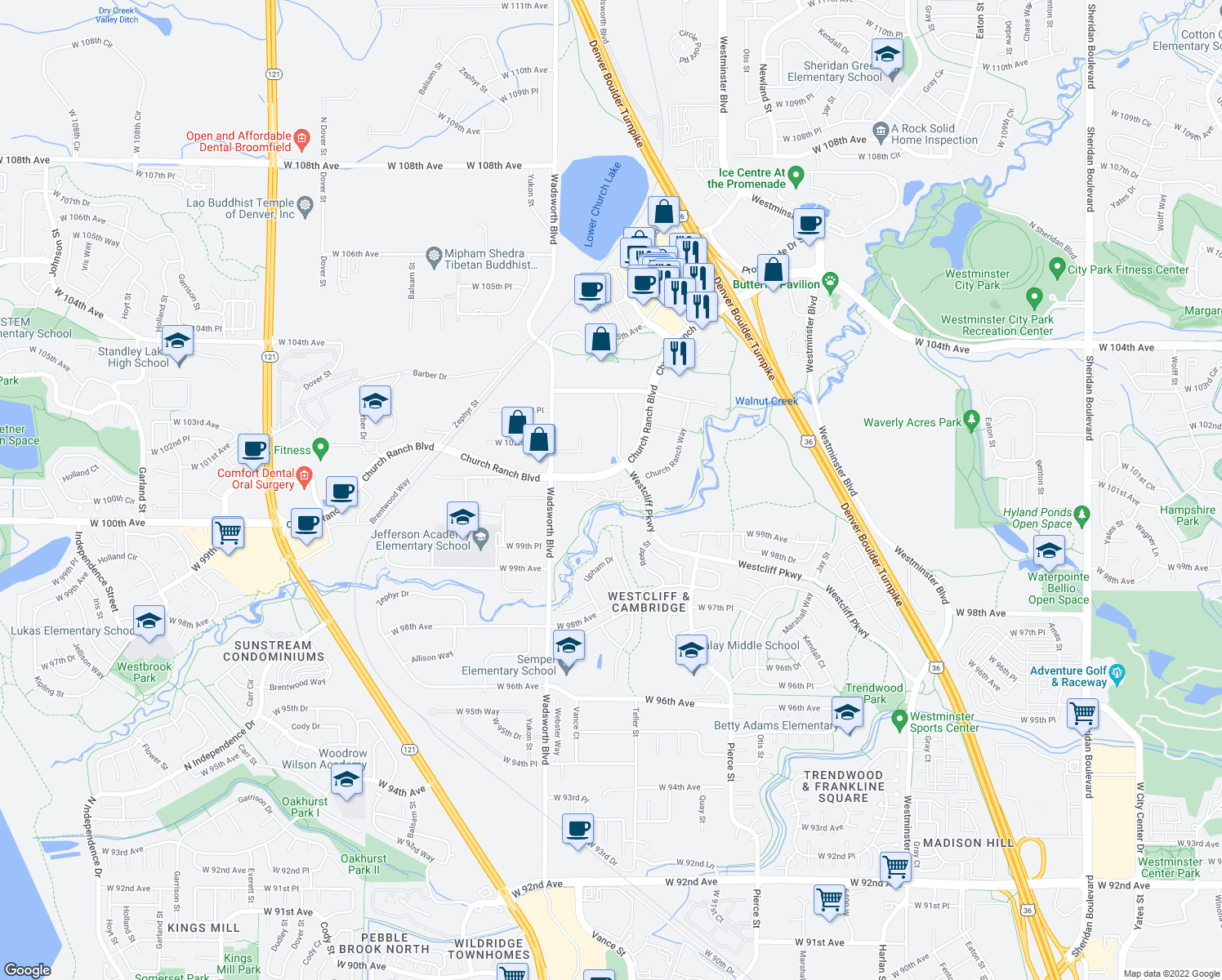 map of restaurants, bars, coffee shops, grocery stores, and more near 7402 Church Ranch Boulevard in Westminster