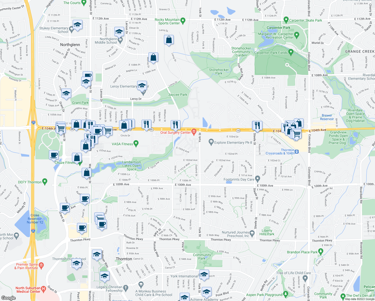 map of restaurants, bars, coffee shops, grocery stores, and more near 2110 East 103rd Avenue in Thornton