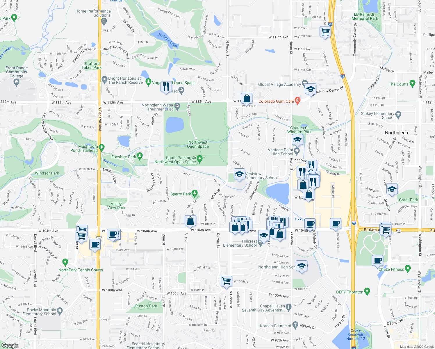 map of restaurants, bars, coffee shops, grocery stores, and more near 1743 Ura Lane in Northglenn