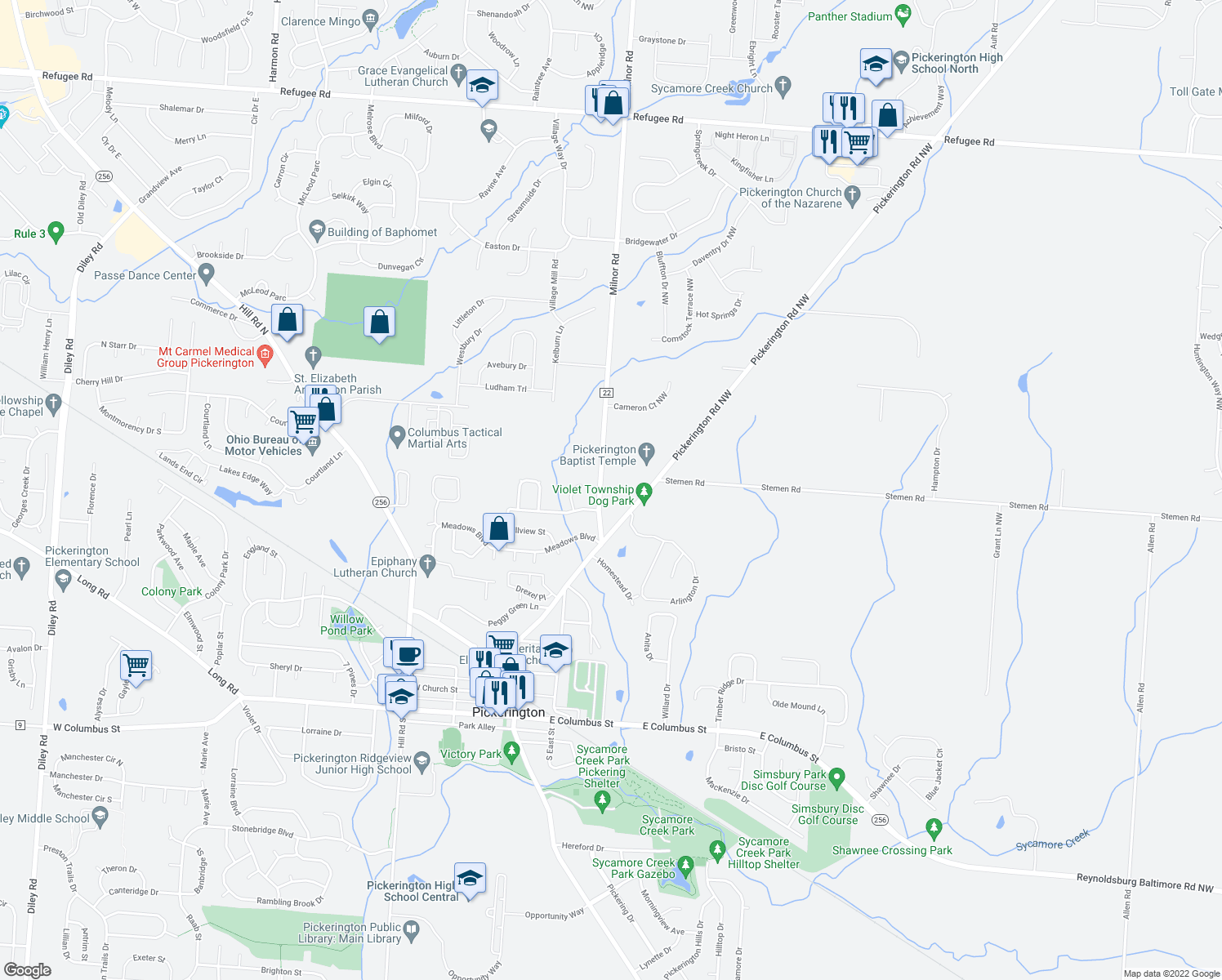 map of restaurants, bars, coffee shops, grocery stores, and more near 476 Milnor Road in Pickerington