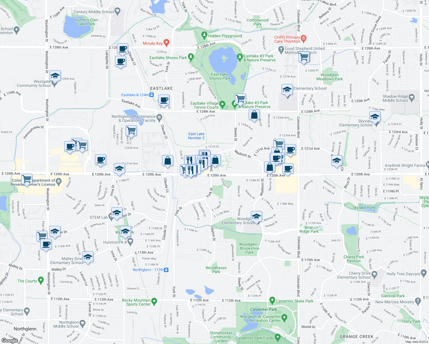 map of restaurants, bars, coffee shops, grocery stores, and more near in Thornton