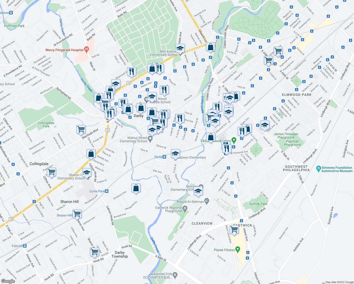 map of restaurants, bars, coffee shops, grocery stores, and more near 221 Walnut St in Darby