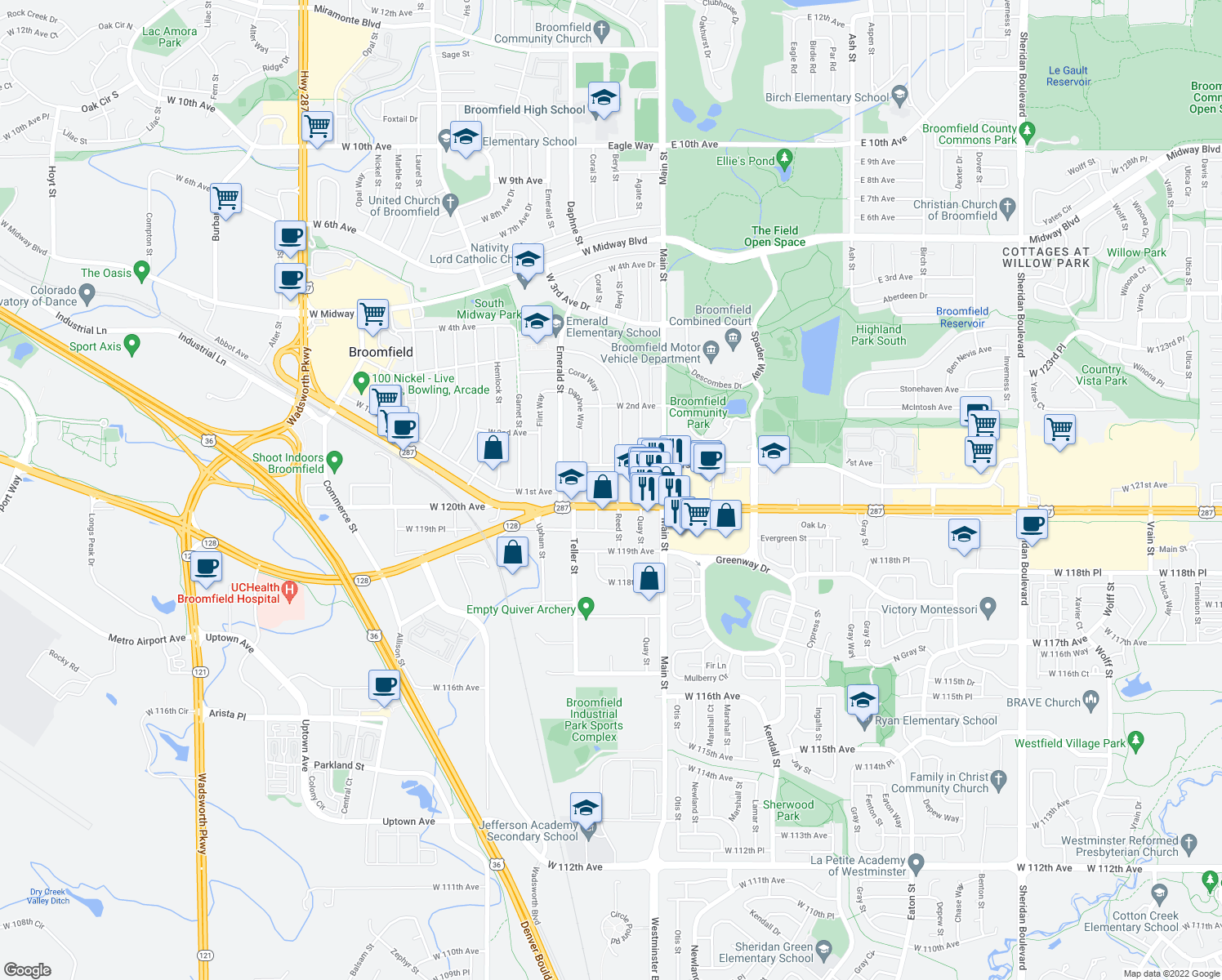 map of restaurants, bars, coffee shops, grocery stores, and more near 7105 West 120th Avenue in Broomfield
